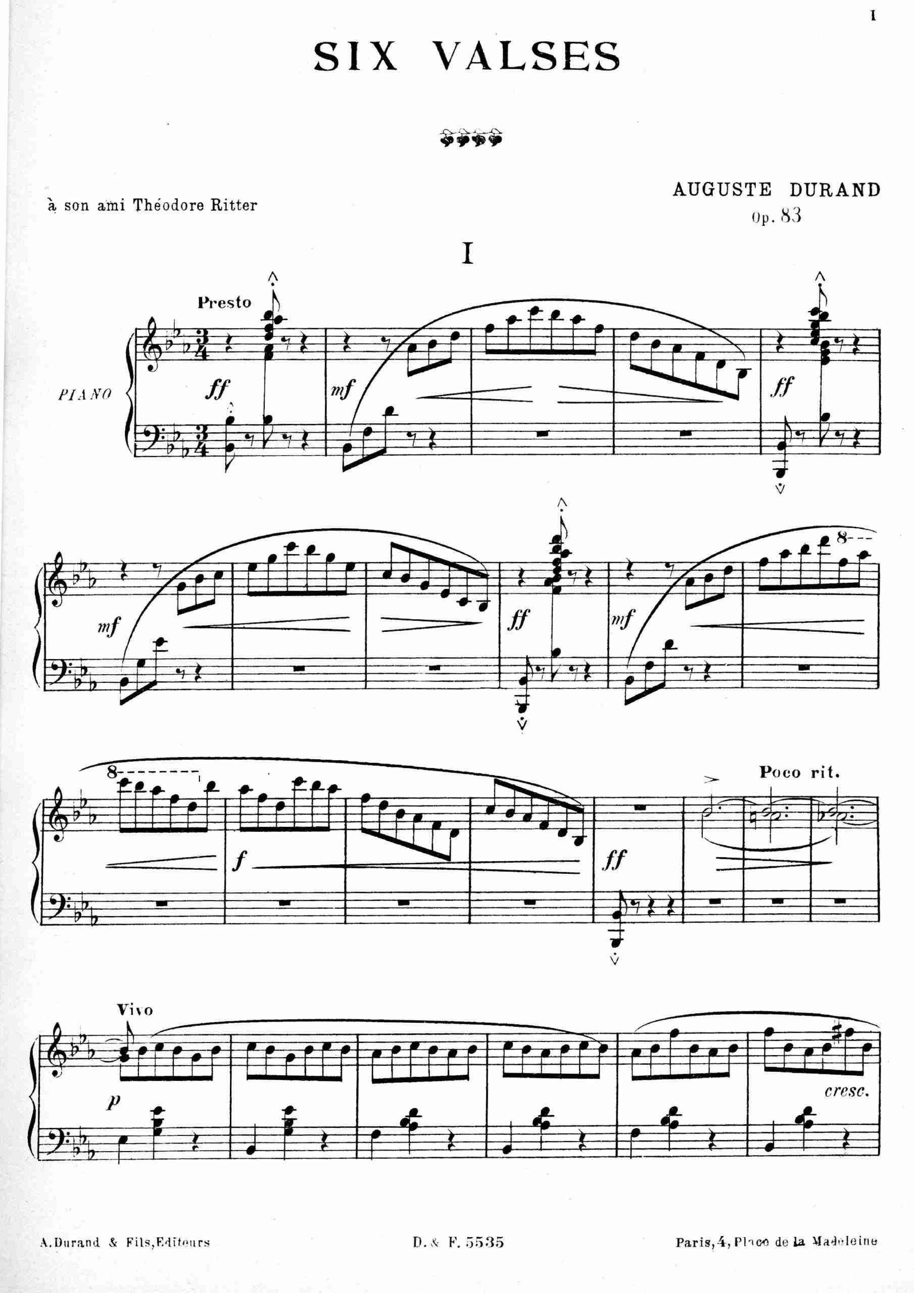 Durand, Auguste - Valse No.1, Op.83