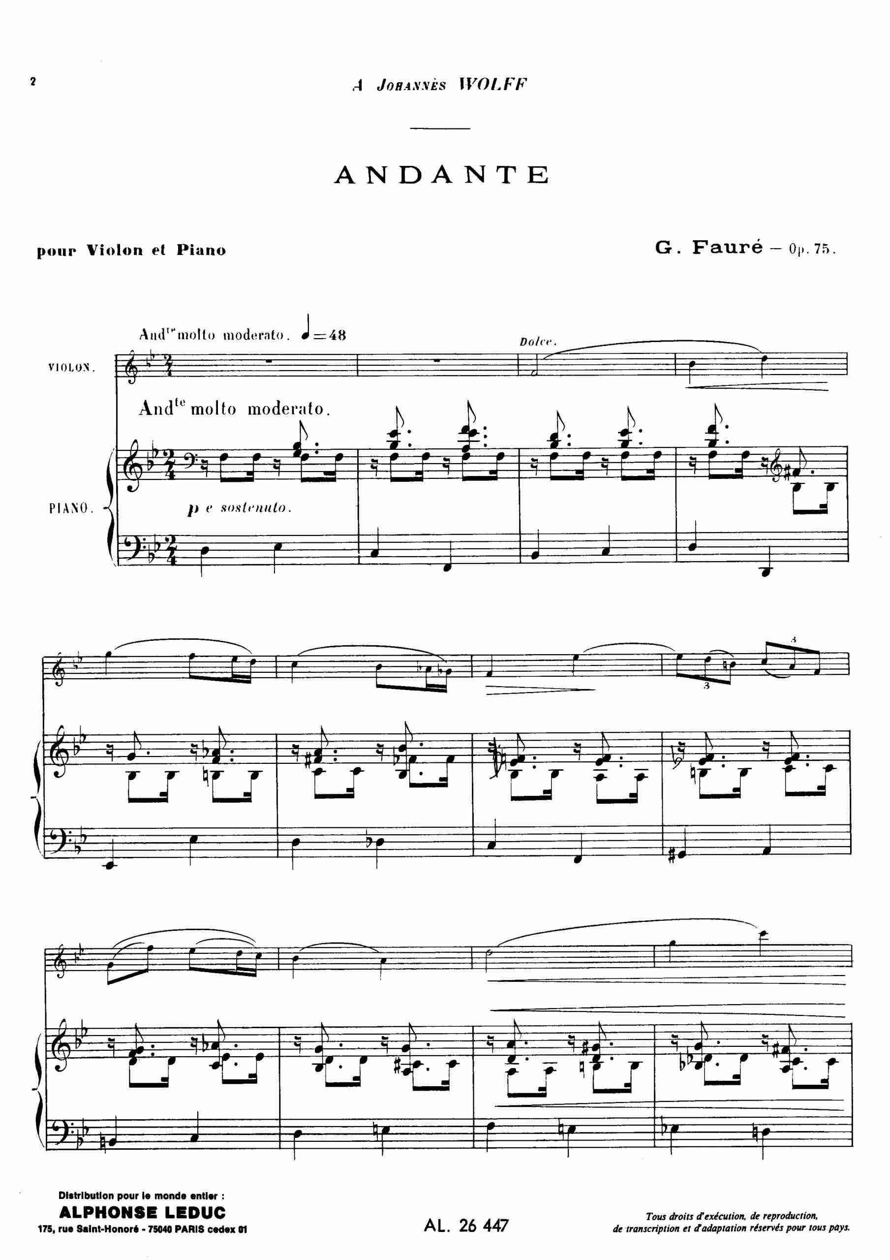 Fauré, Gabriel - Andante, Op.75