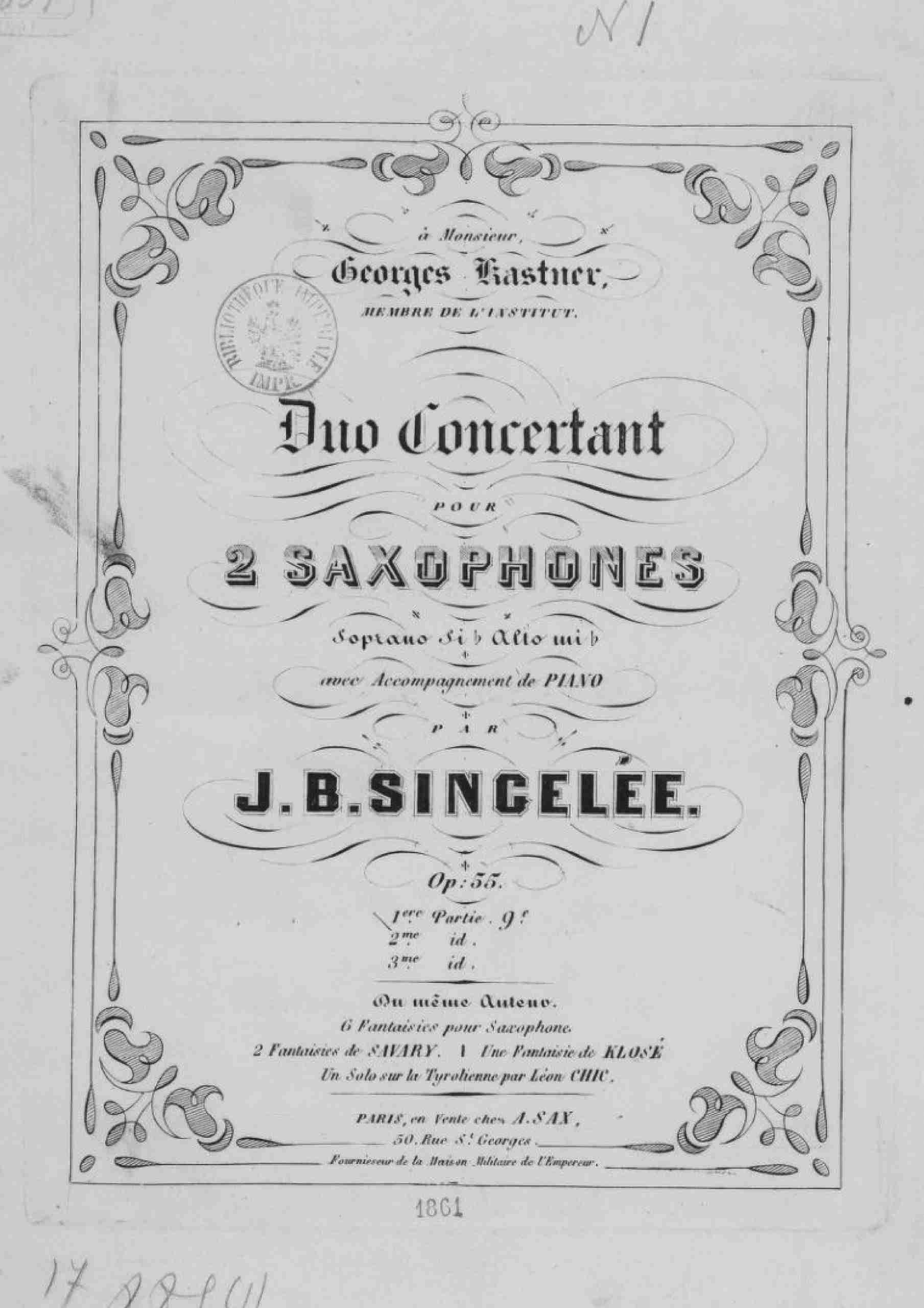 Singelée, Jean Baptiste - Duo concertant, Op.55