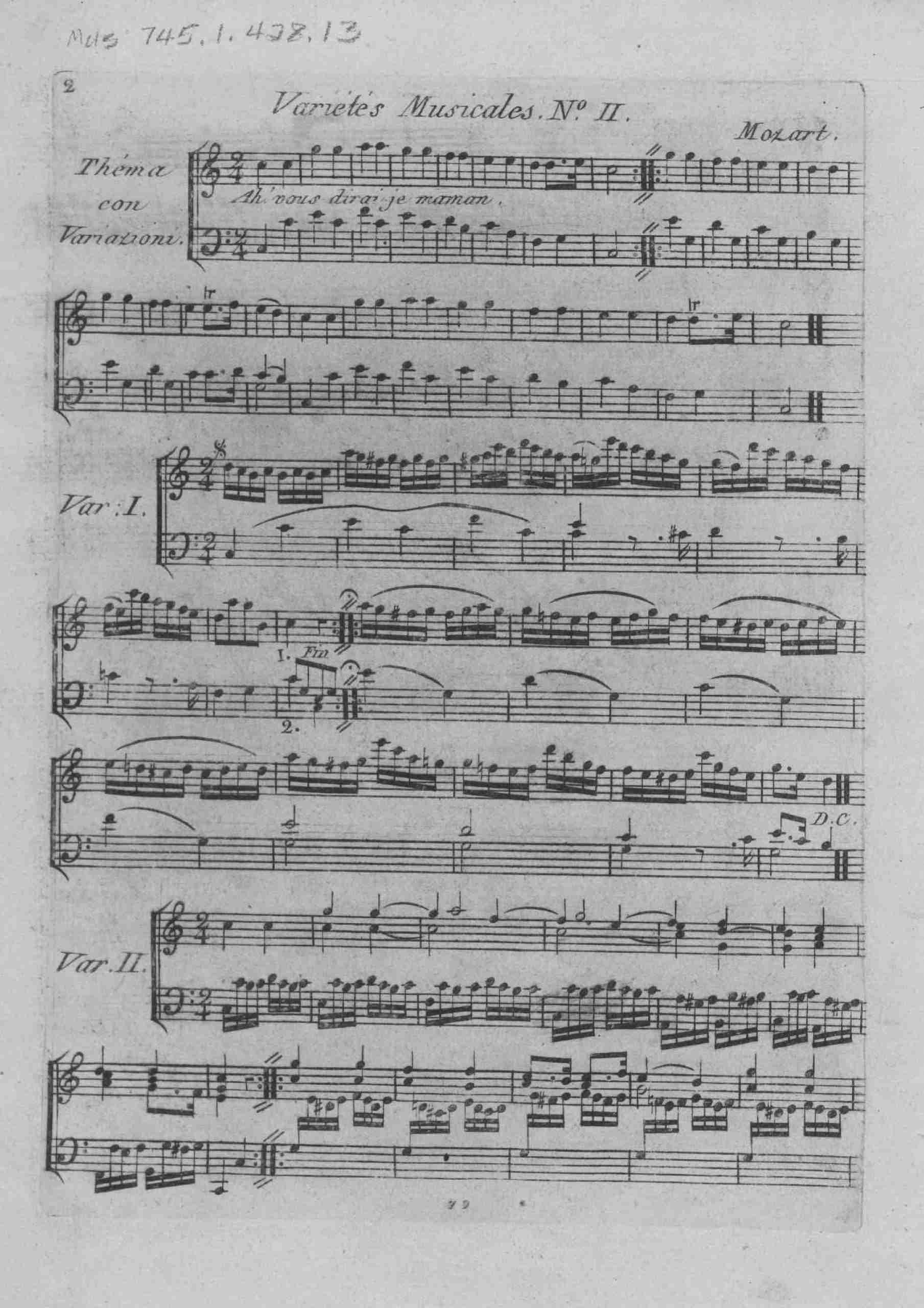 """Mozart - 12 Variations on """"Ah, vous dirai-je maman"""", K.265/300e"""