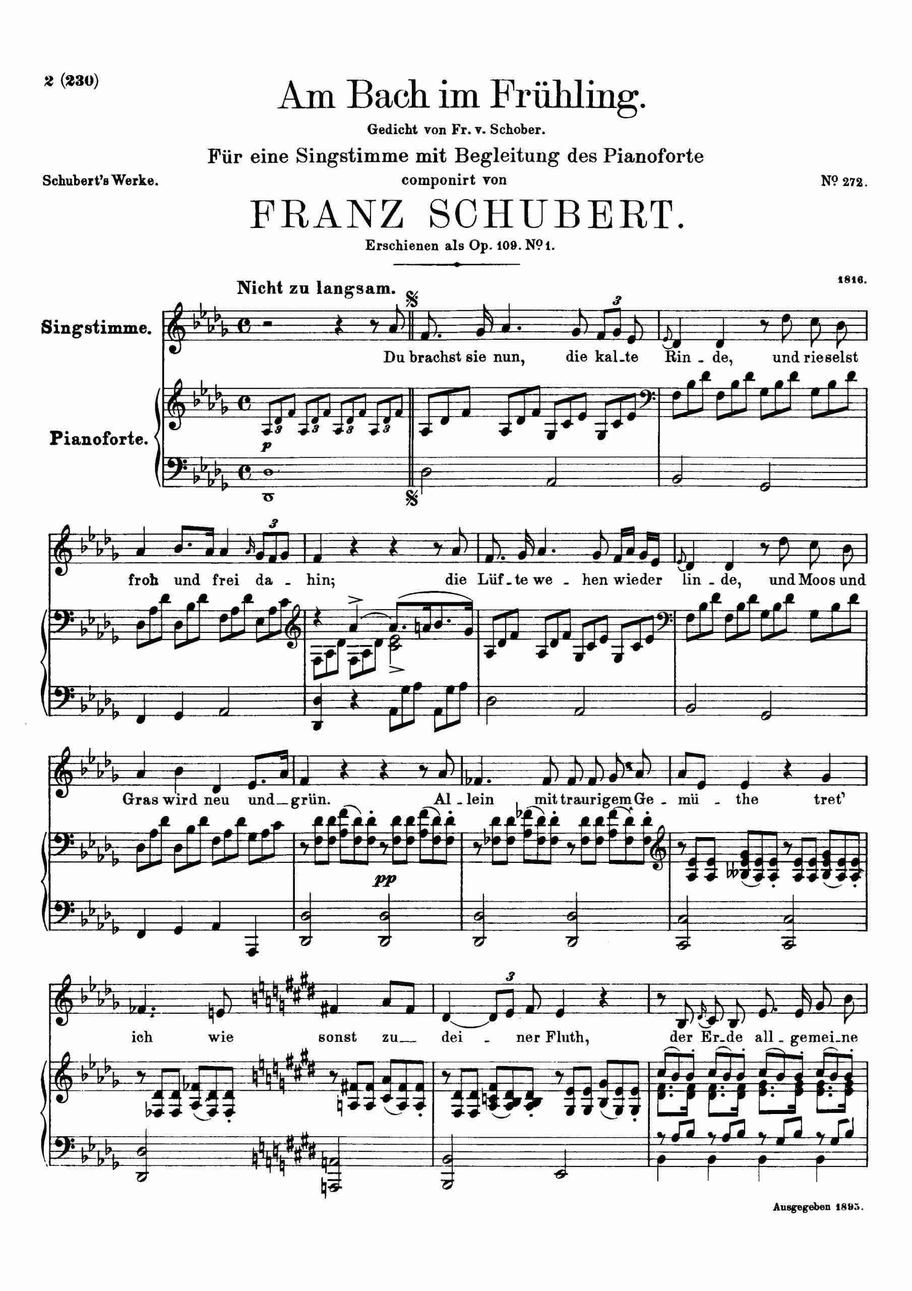 Schubert, Franz - Am Bach im Frühling, D.361
