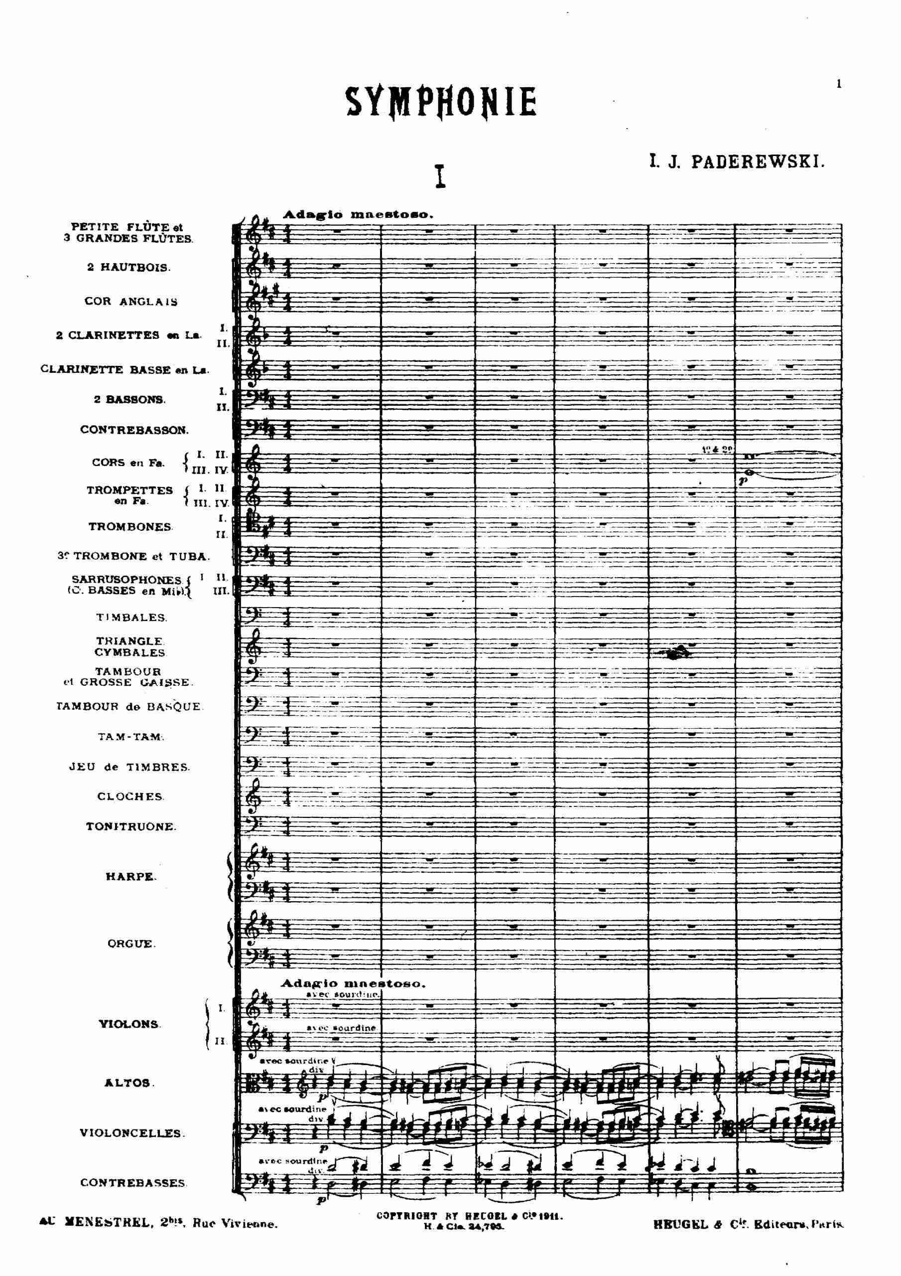 Paderewski, Ignacy Jan - Symphony, Op.24 score 1