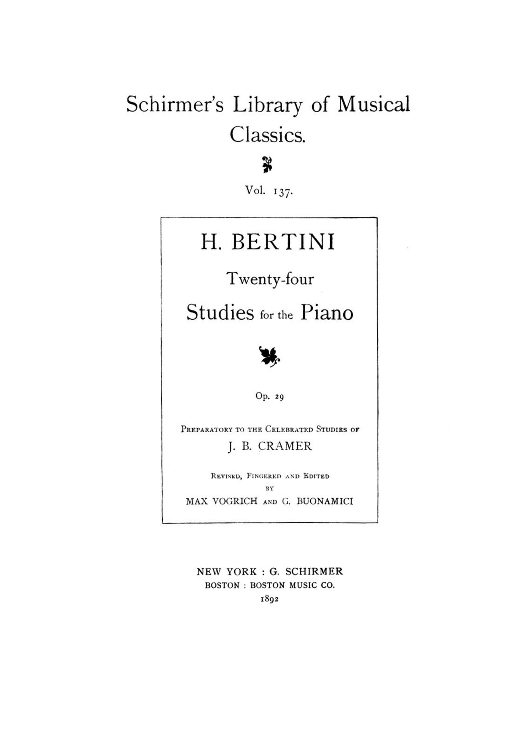 Bertini, Henri - 24 Etudes, Op.29