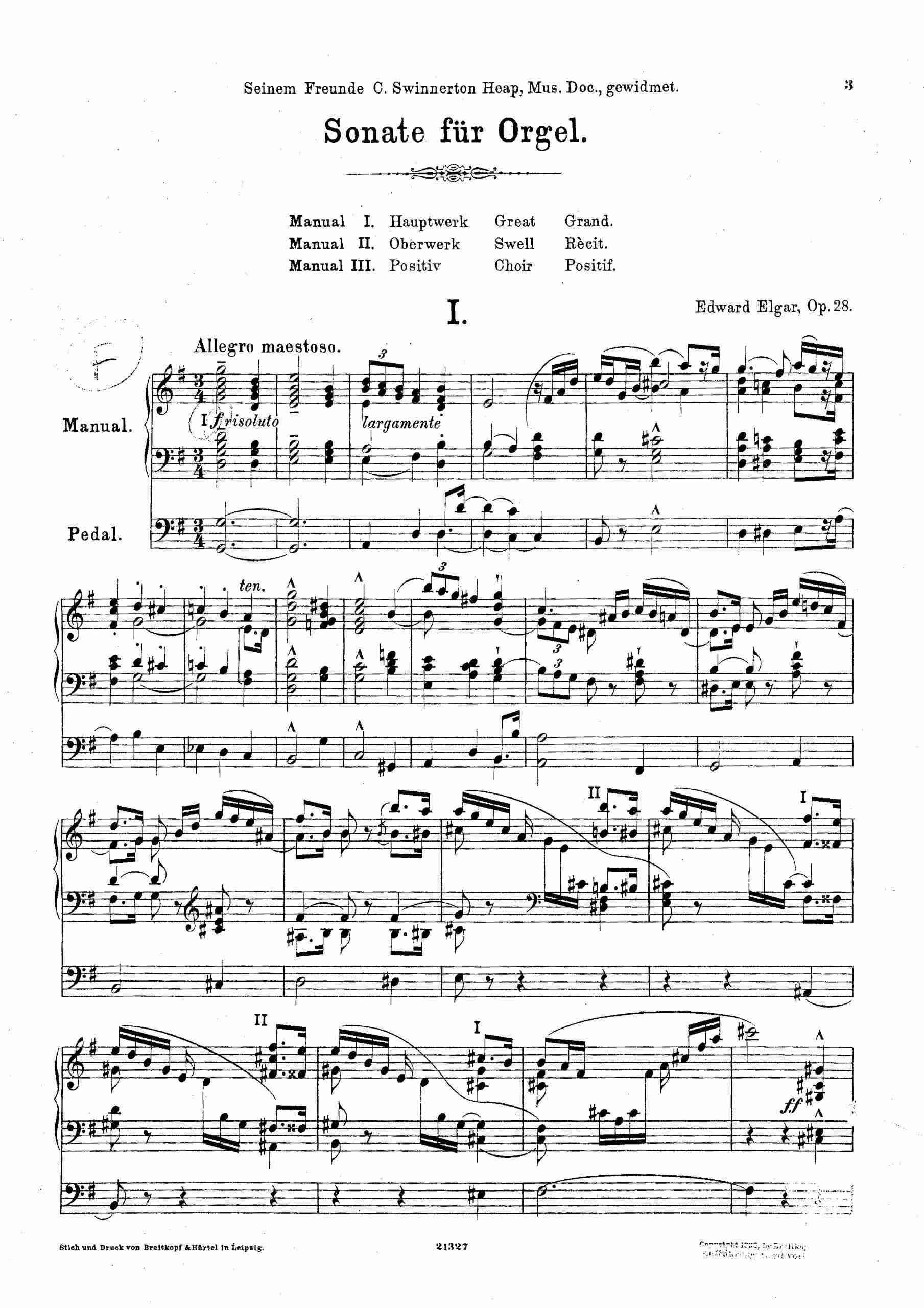 Elgar, Edward - Organ Sonata, Op.28