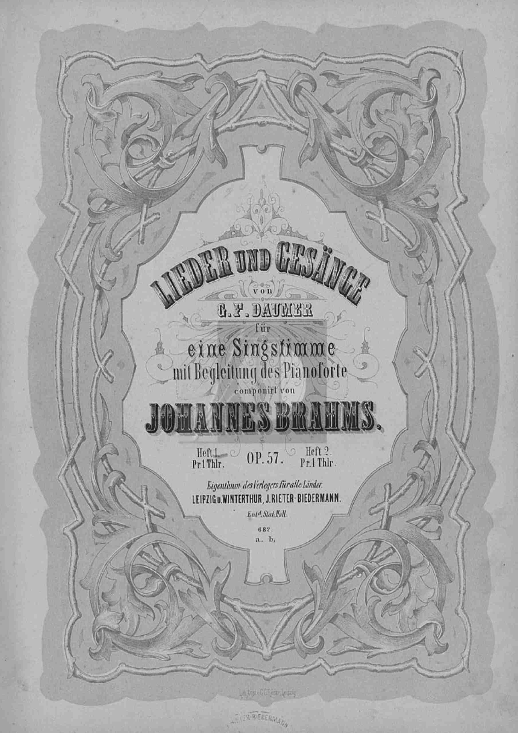 Brahms, Johannes - 8 Lieder and Songs, Op.57