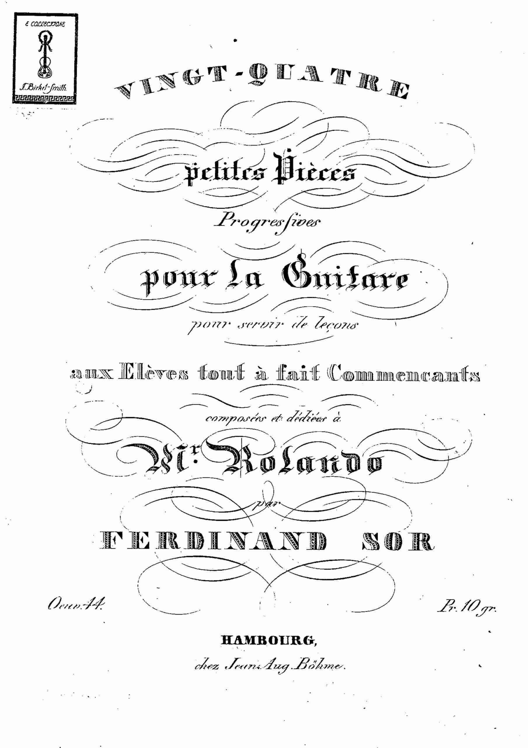 Sor, Fernando - 24 Petites pièces progressives, Op.44