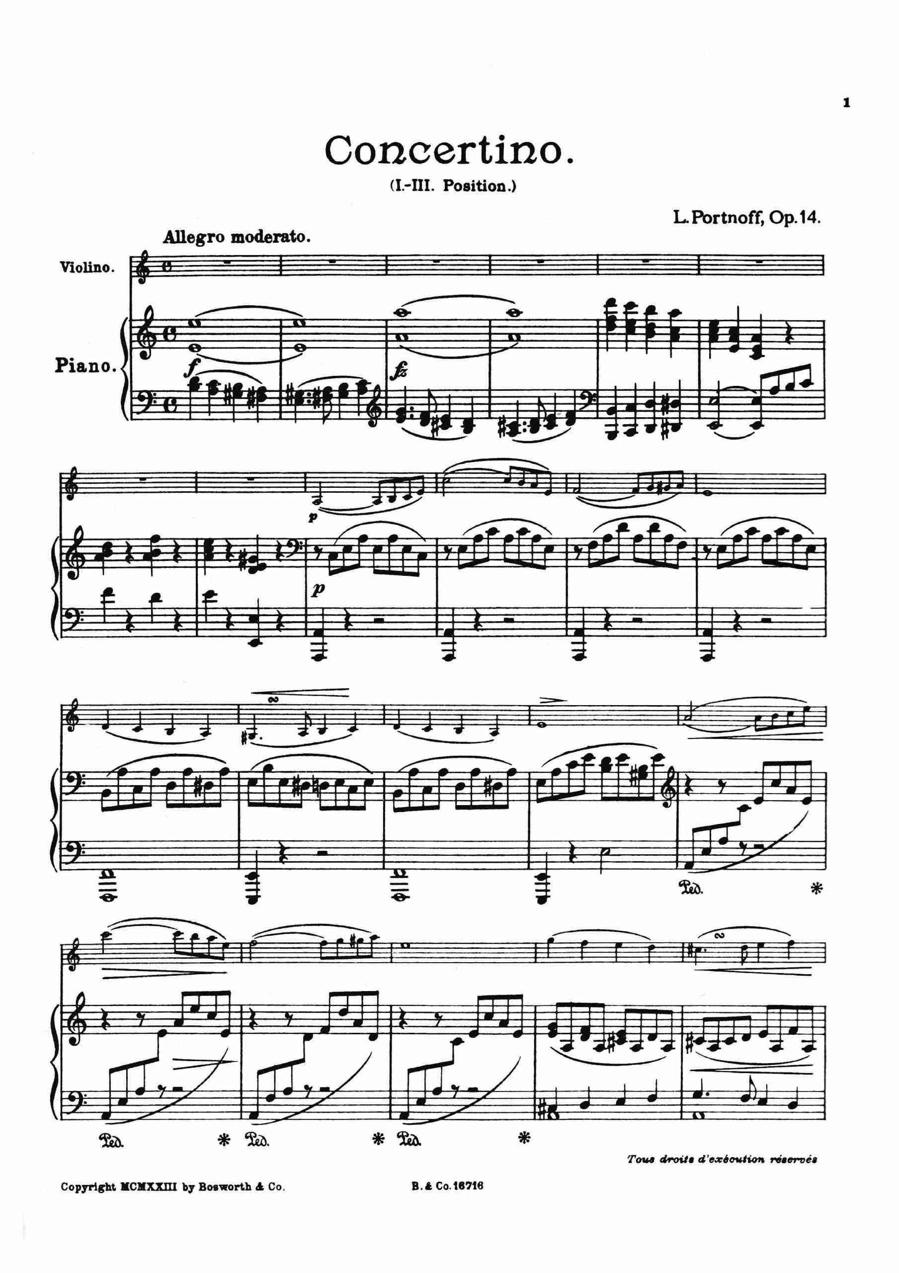 Portnoff, Leo - Violin Concertino, Op.14 (pno)