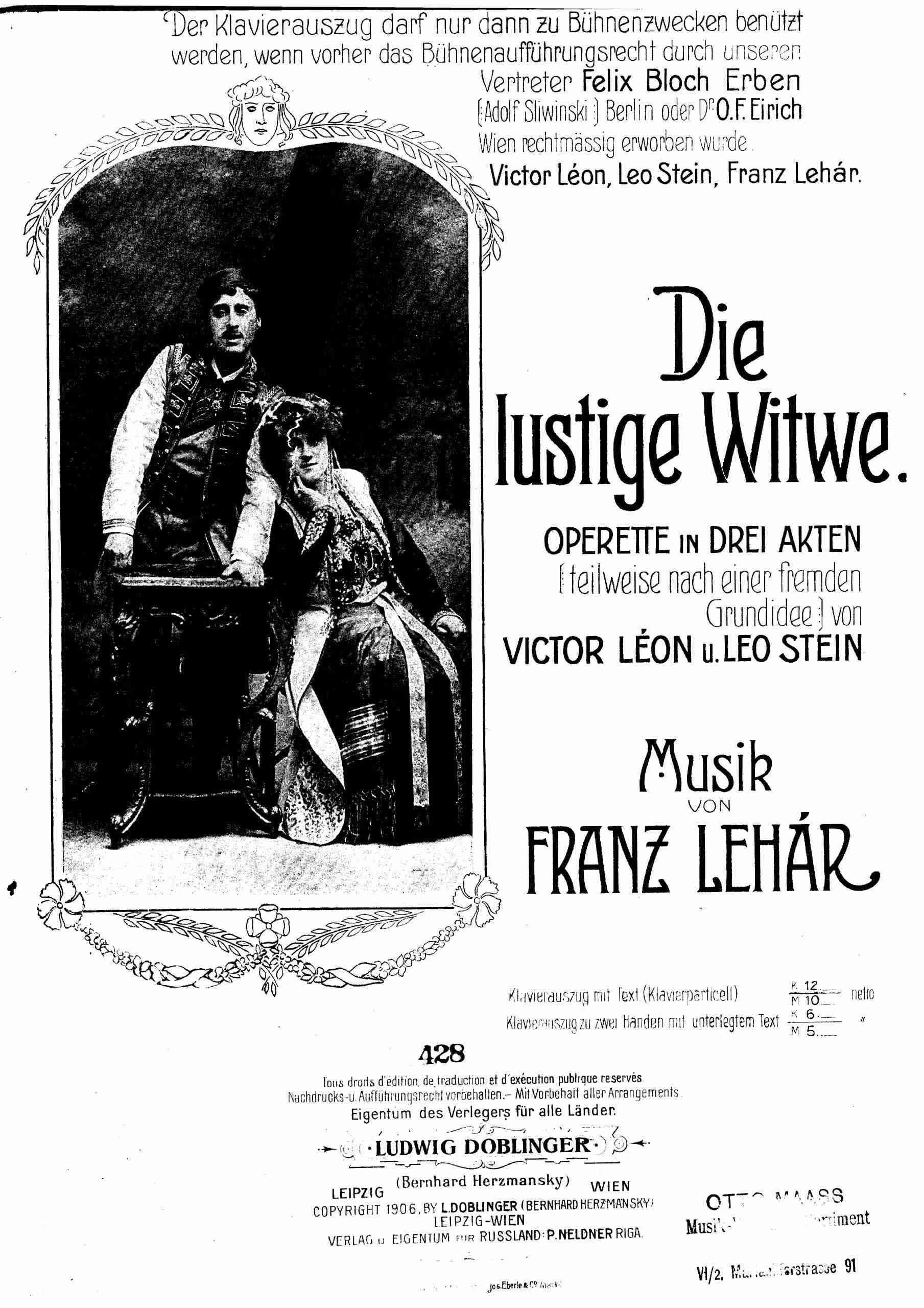 Lehár, Franz - Die lustige Witwe (Pno arr. Volk)