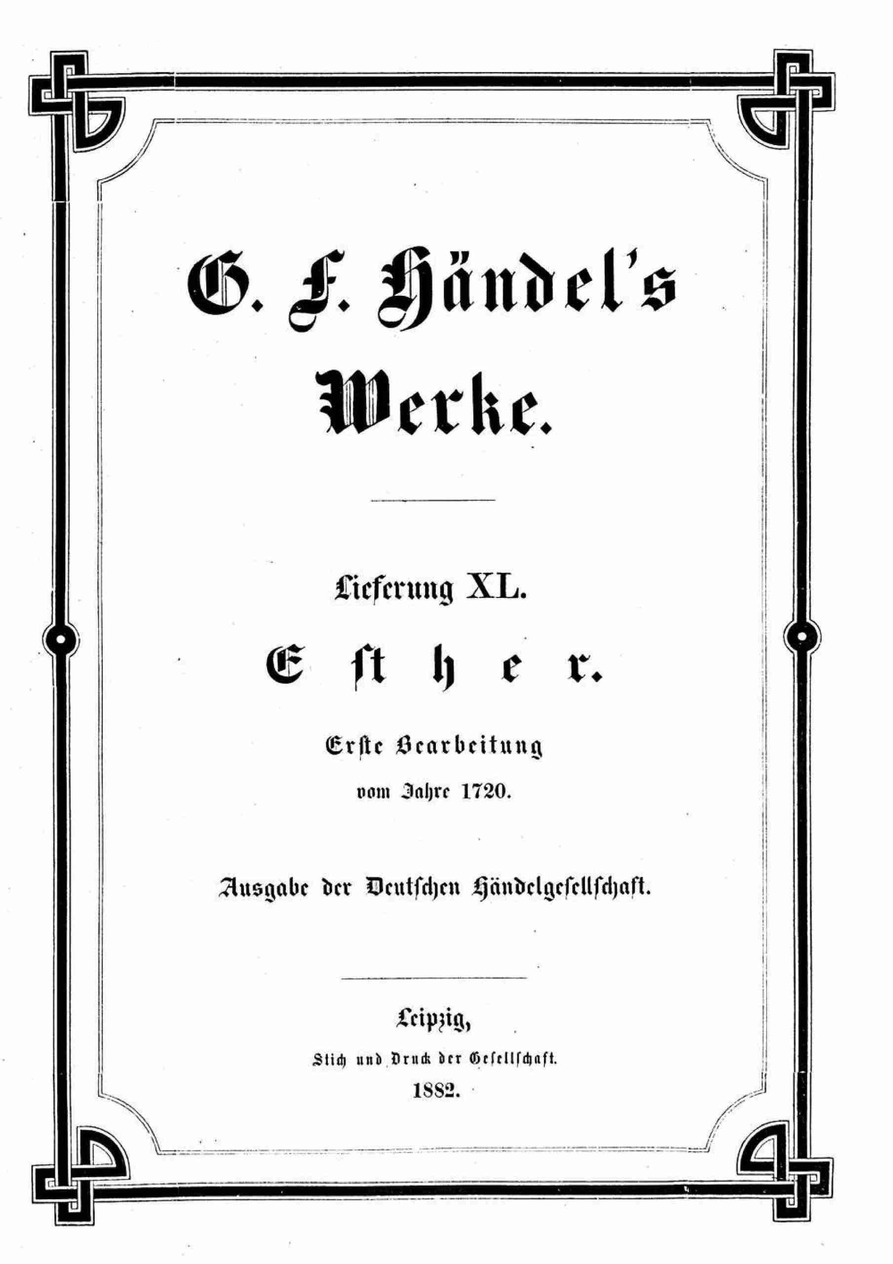 Handel, George Frideric - Esther, HWV 50a