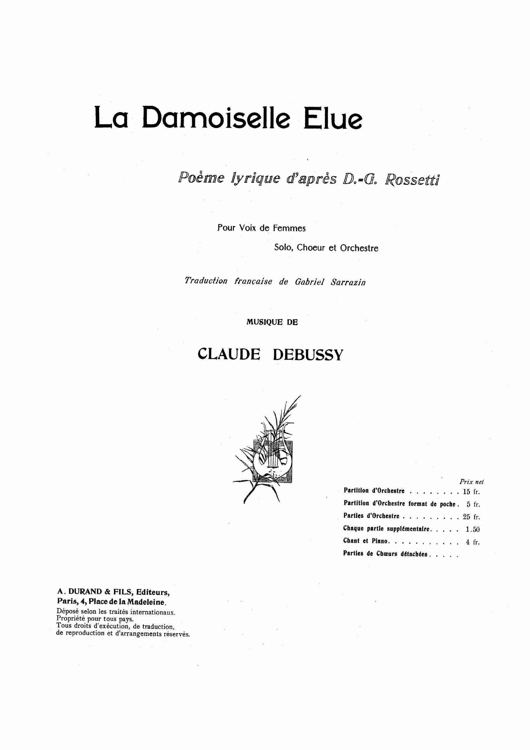 Debussy, Claude - La damoiselle élue (score)