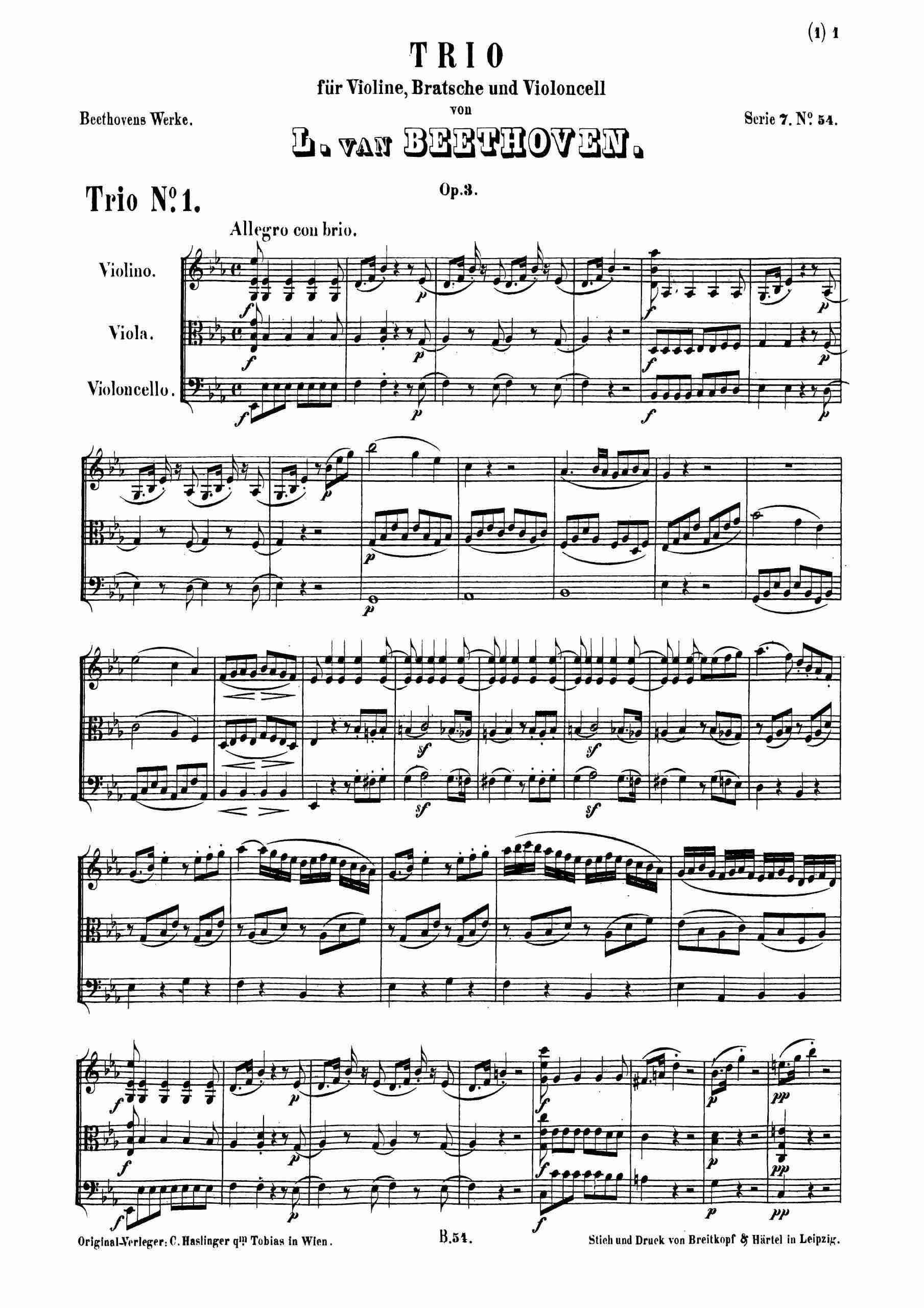 Beethoven, Ludwig van - String Trio in E-flat major, Op.3 (score)