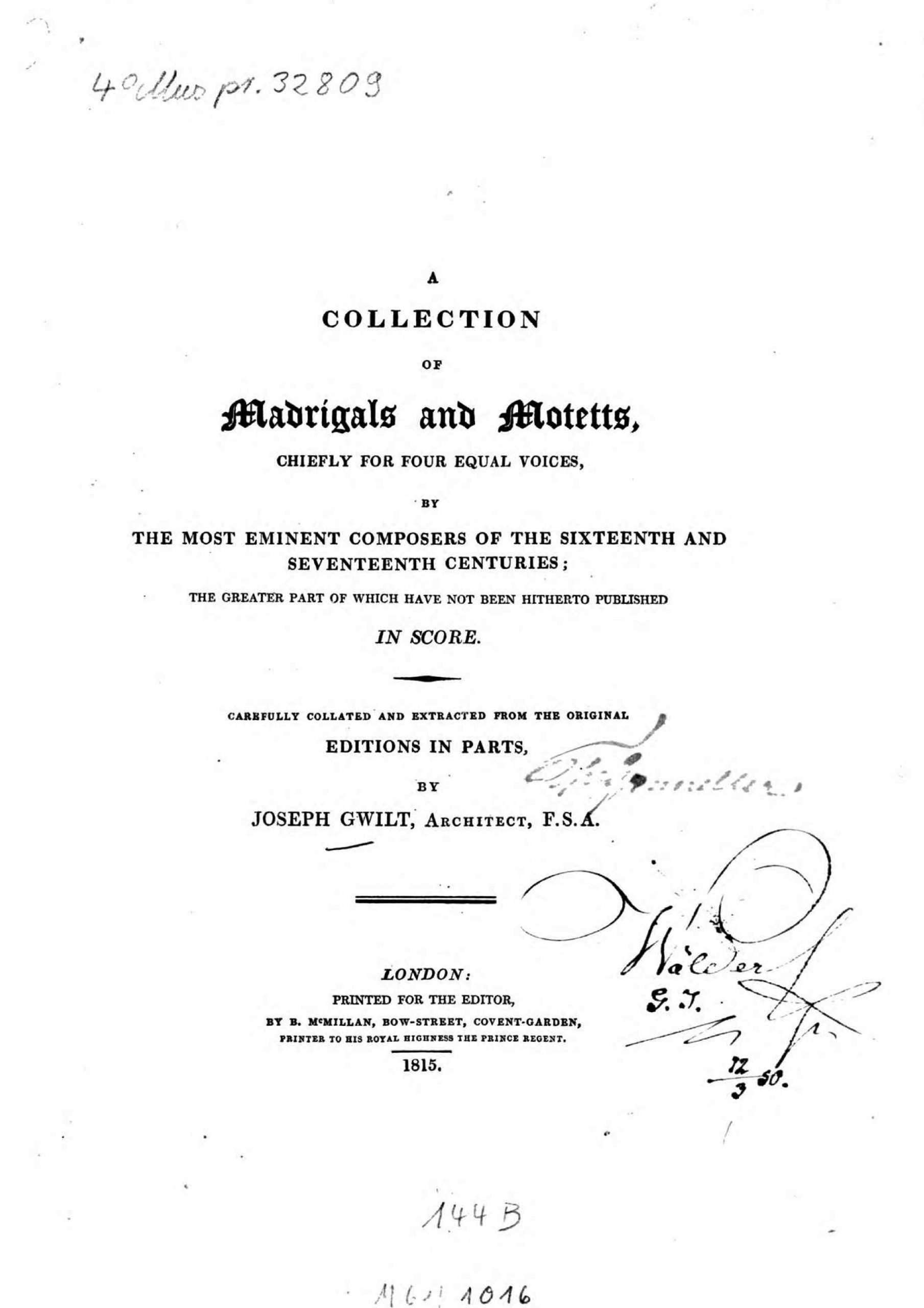 Gwilt, Joseph - A Collection of Madrigals and Motetts