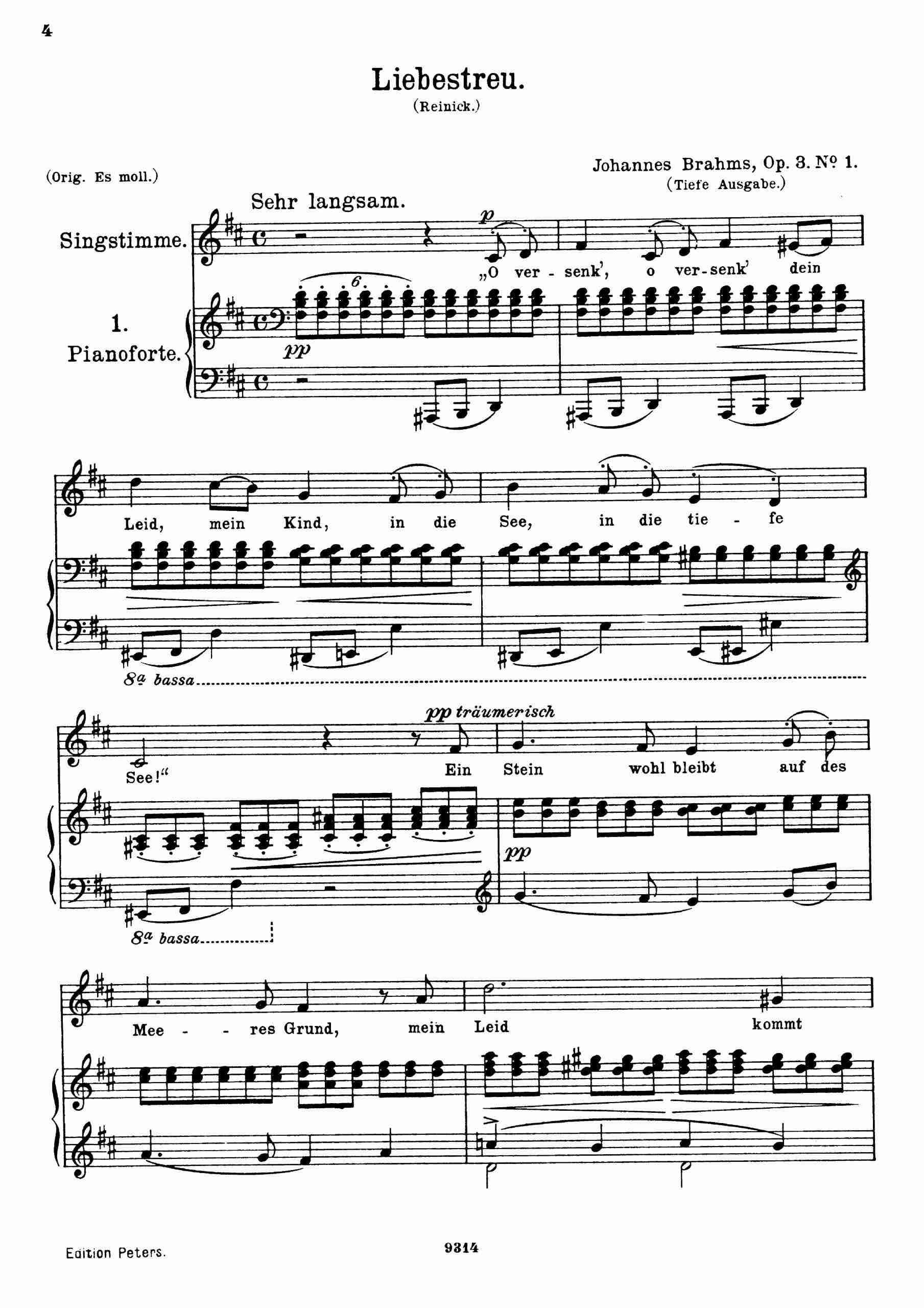 Brahms, Johannes - 6 Songs, Op.3 (low voice, no.1)