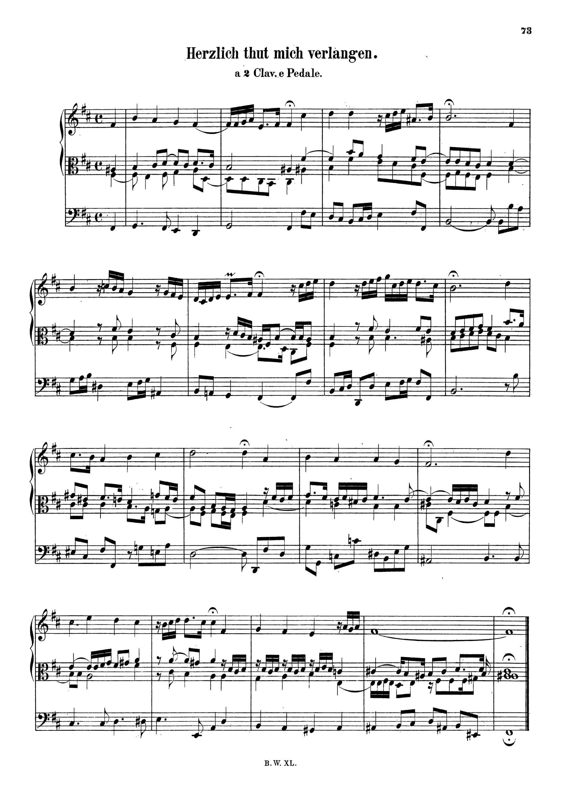 Bach, Johann Sebastian - Herzlich tut mich verlangen, BWV 727