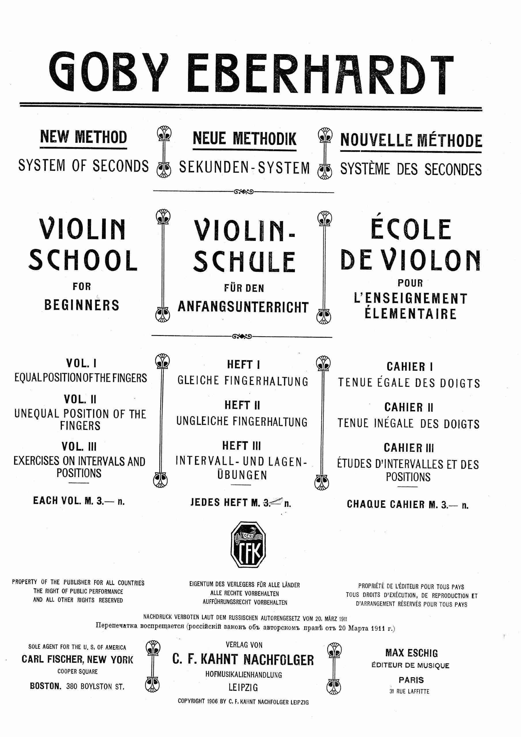 Eberhardt, Goby - Violin-Schule (Book 1)
