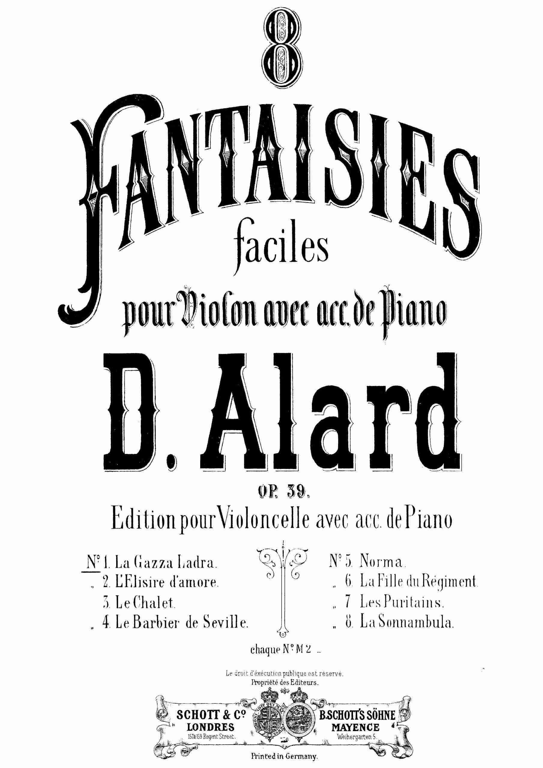 Alard, Jean Delphin - 8 Fantaisies faciles, Op.39 (no.1 pno)