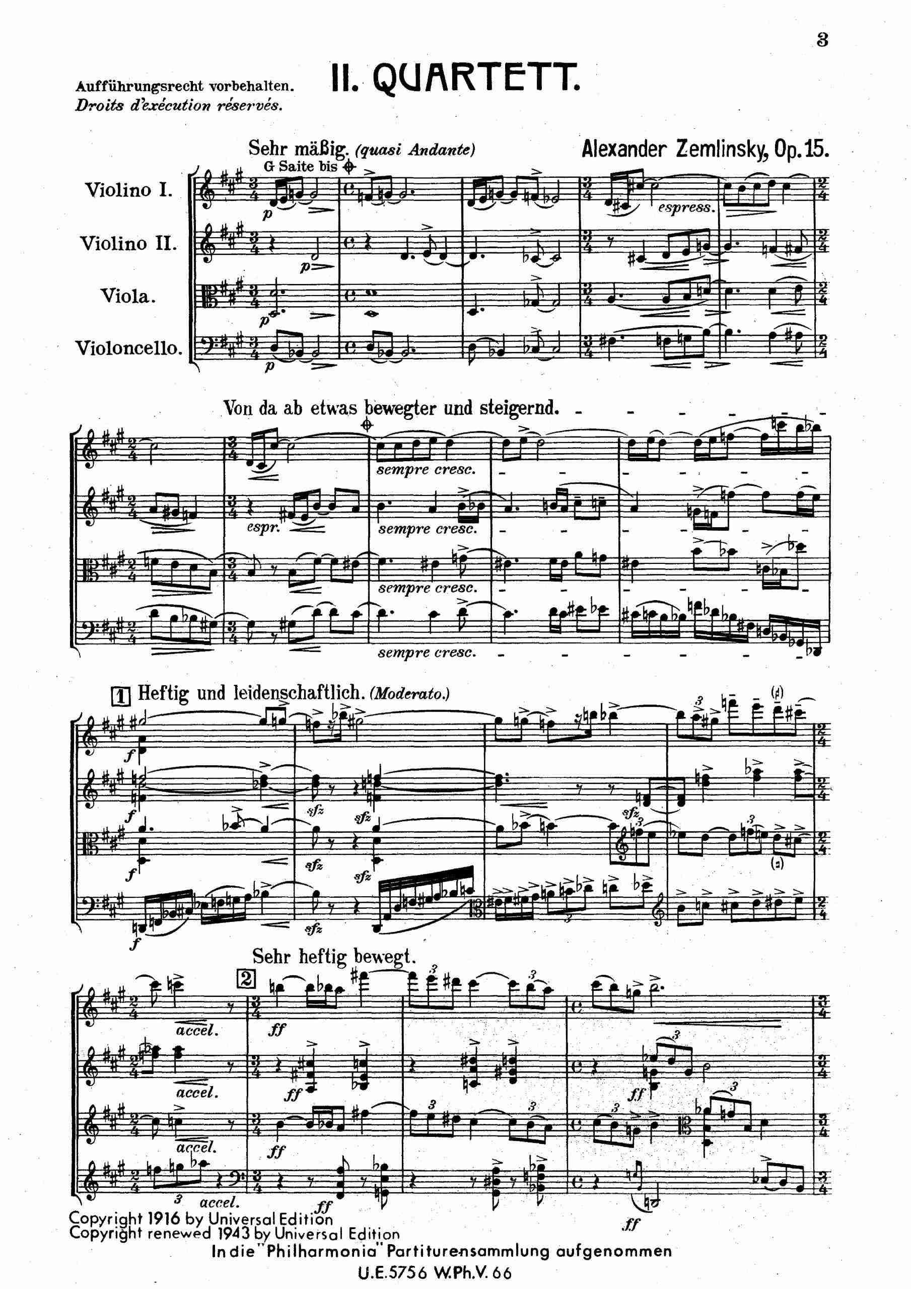 Zemlinsky, Alexander von - String Quartet No.2, Op.15 (score)