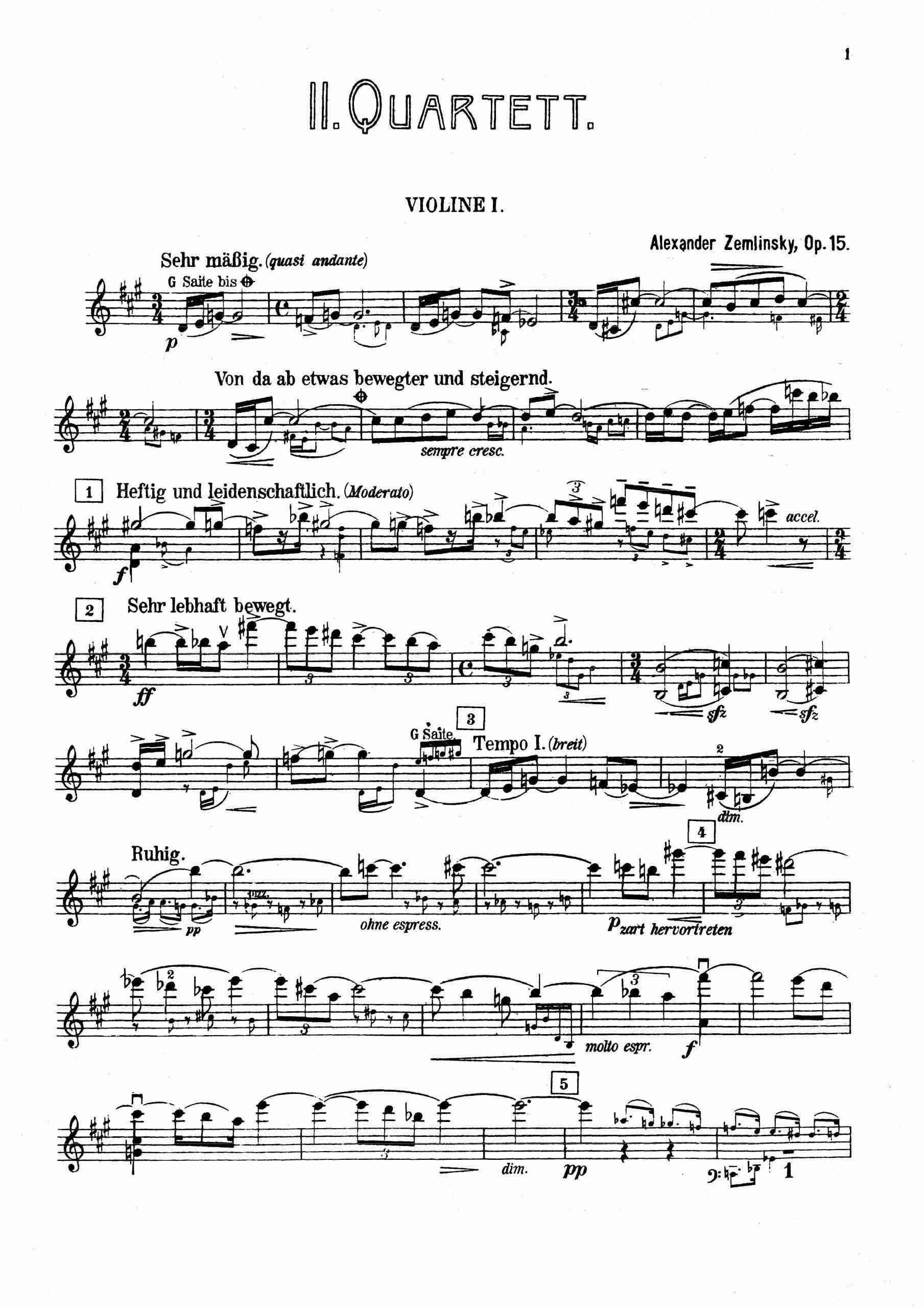 Zemlinsky, Alexander von - String Quartet No.2, Op.15 (parts)