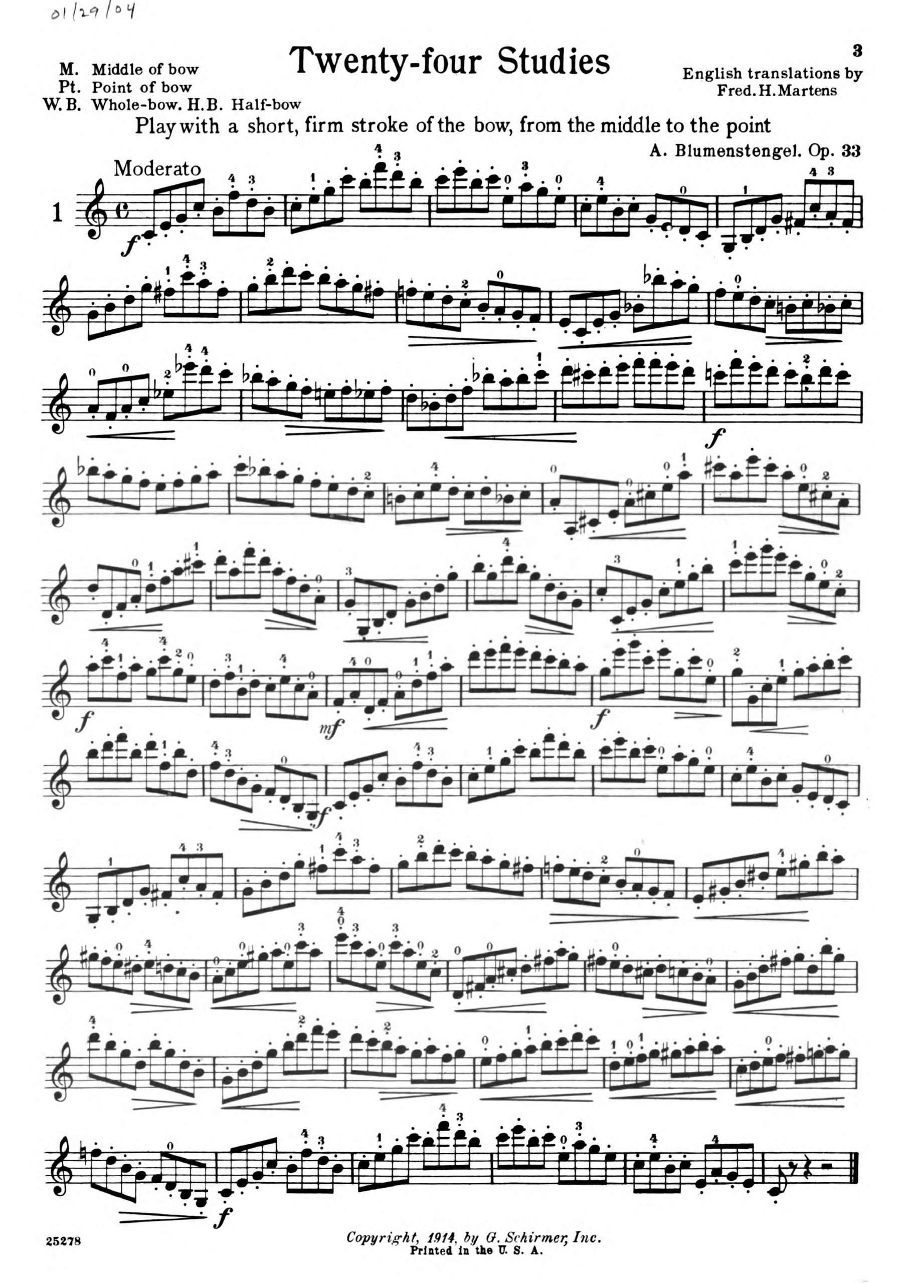 Blumenstengel, Albrecht - 24 Violin Etudes, Op.33