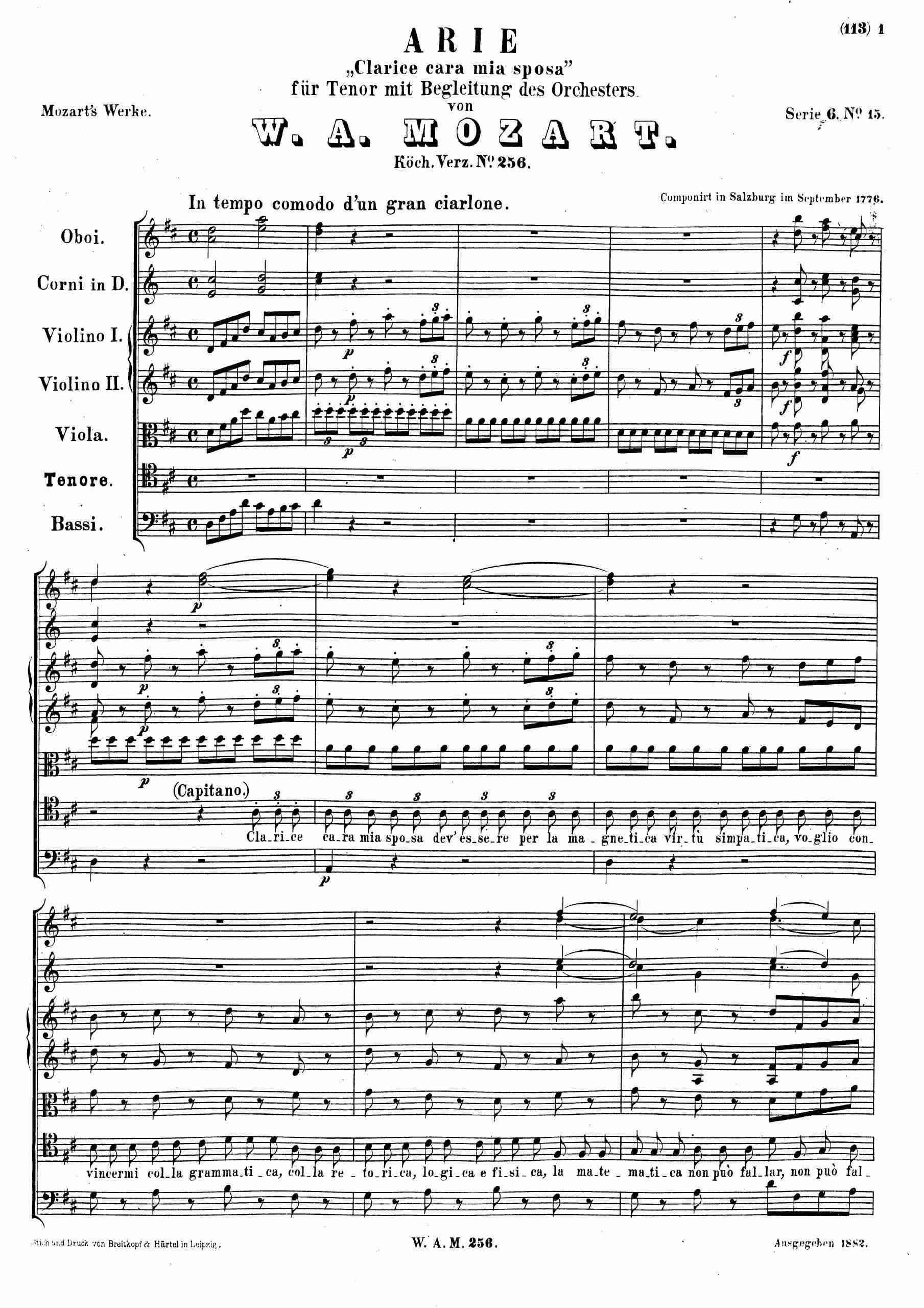Mozart, Wolfgang Amadeus - Clarice cara mia sposa, K.256 (score)