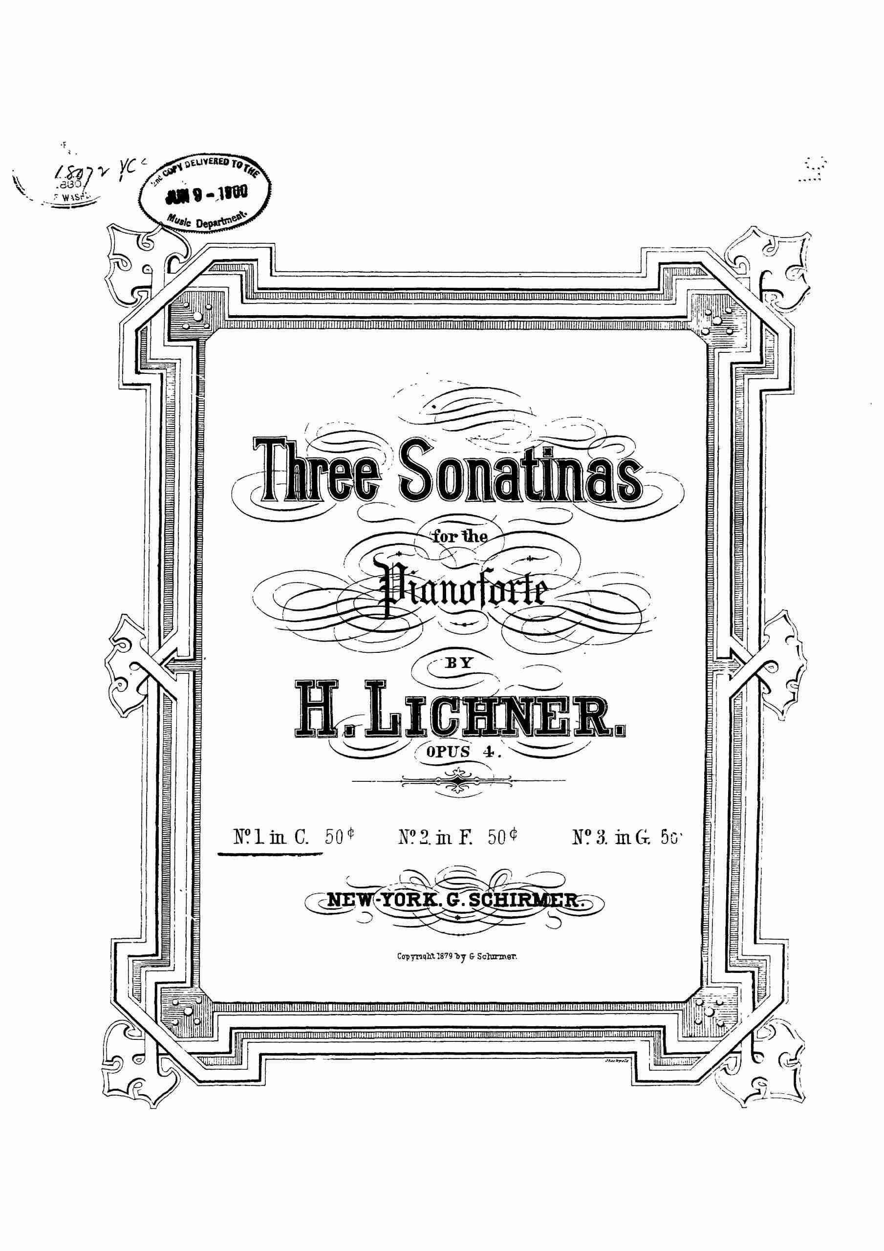 Lichner, Heinrich - 3 Piano Sonatas, Op.4 (no.1)