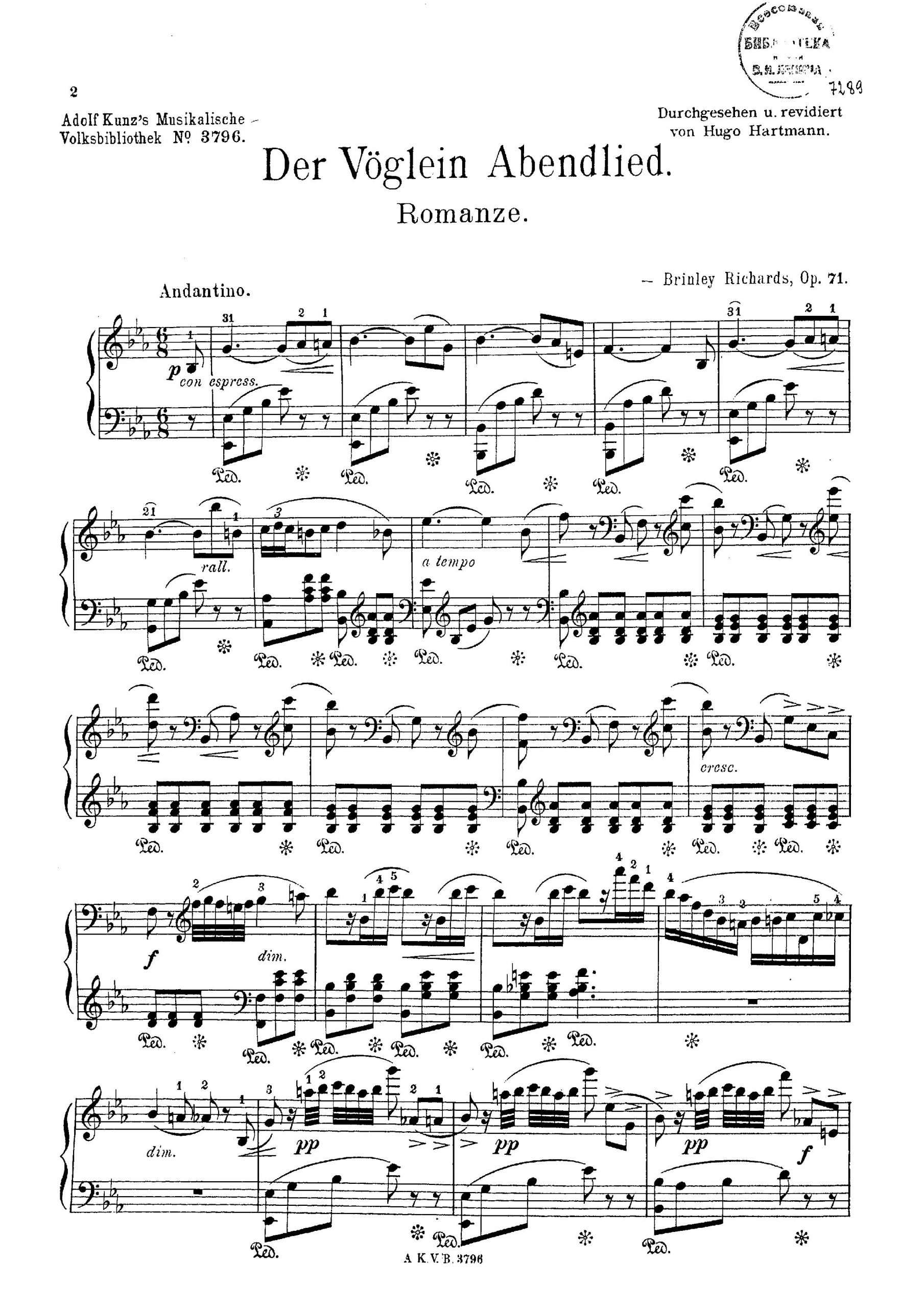 Richards, Brinley - Vöglein's Abendlied, Op.71