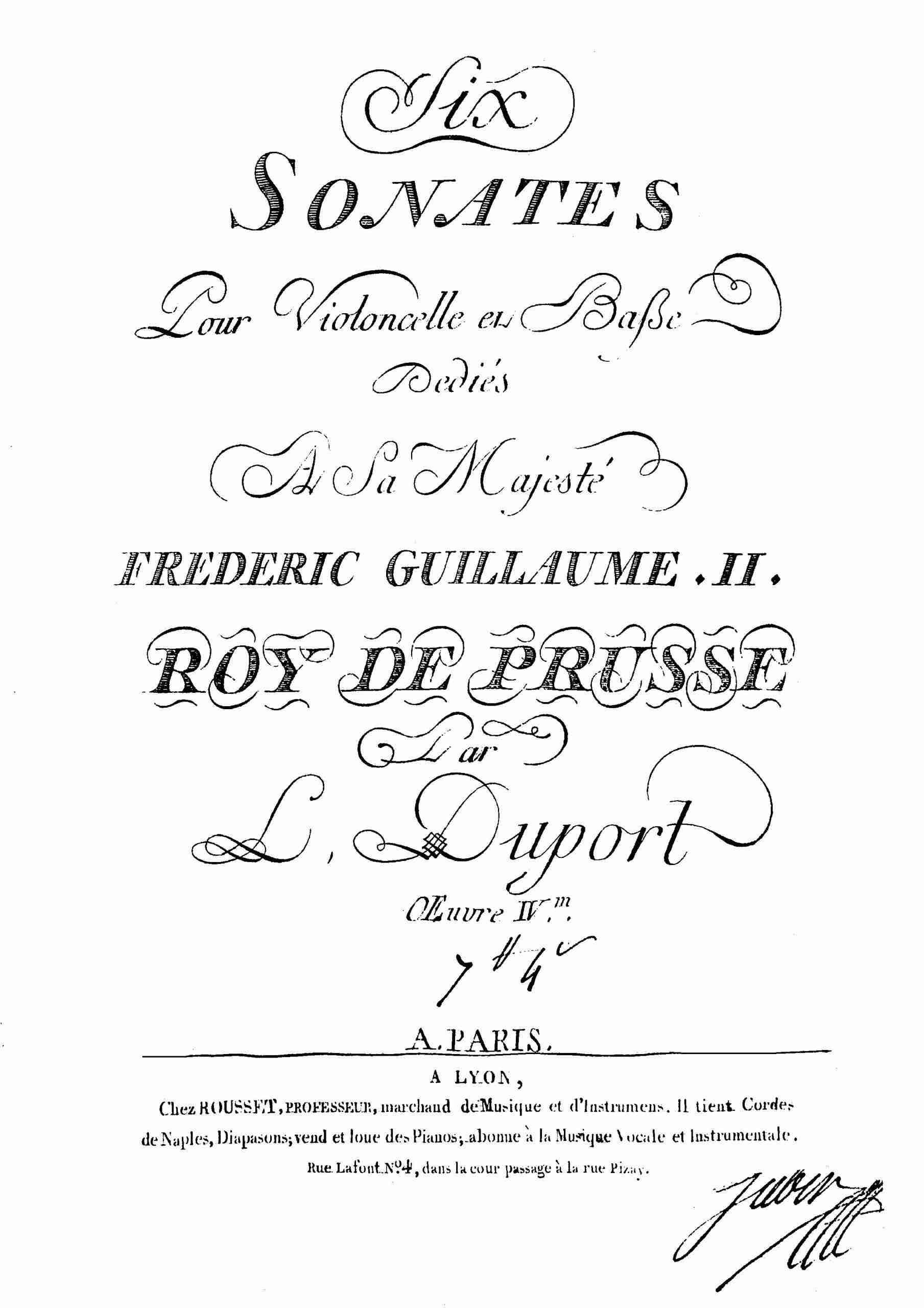 Duport, Jean-Louis - 6 Cello Sonatas, Op.4