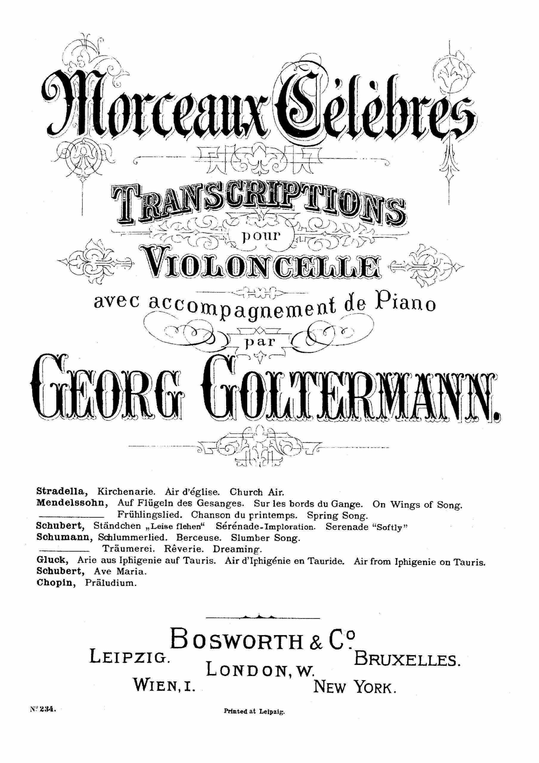 Schubert, Franz - Ave Maria, D.839 for Cello & Piano (Goltermann)