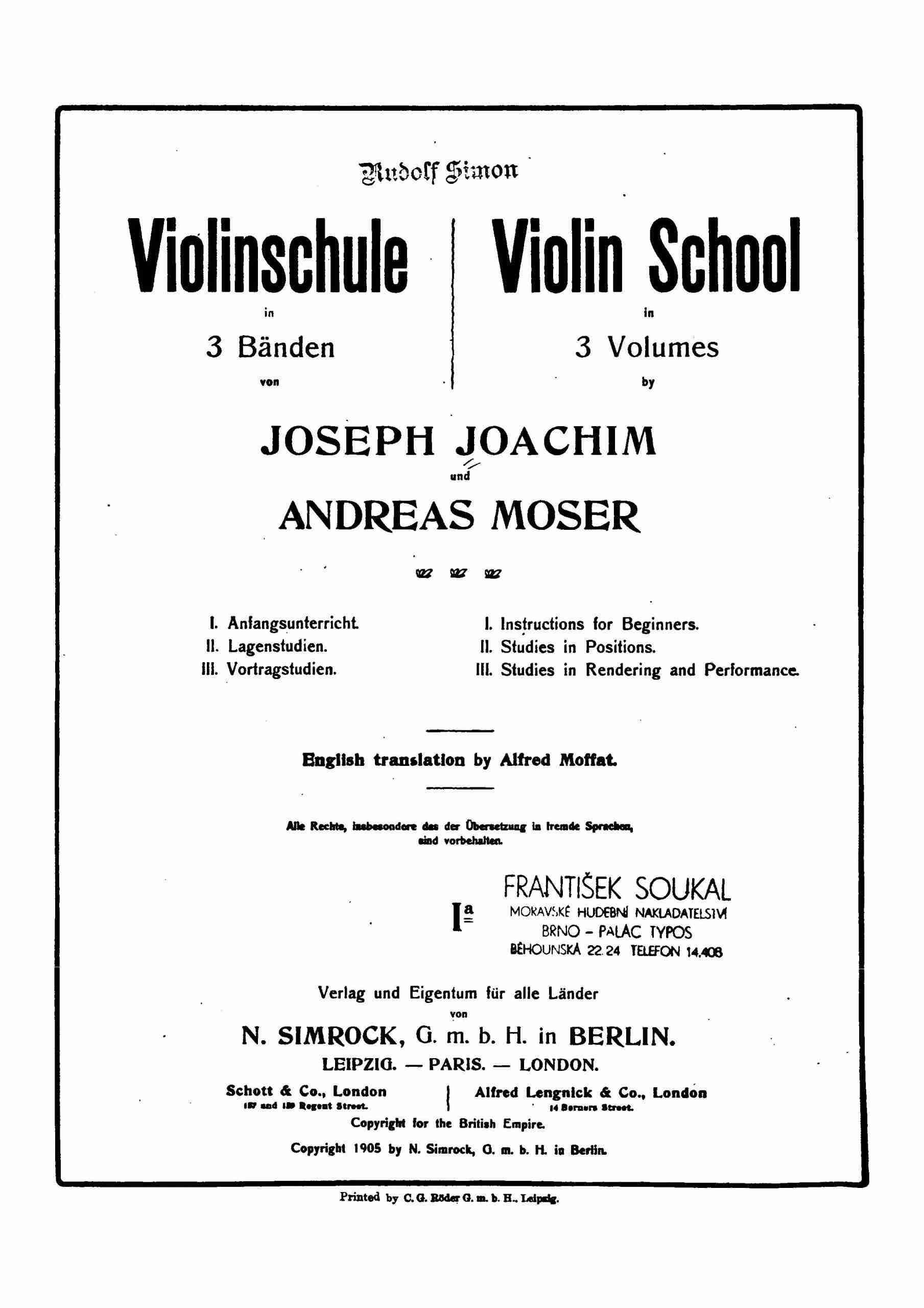 Joachim, Joseph - Violin School - Book 1