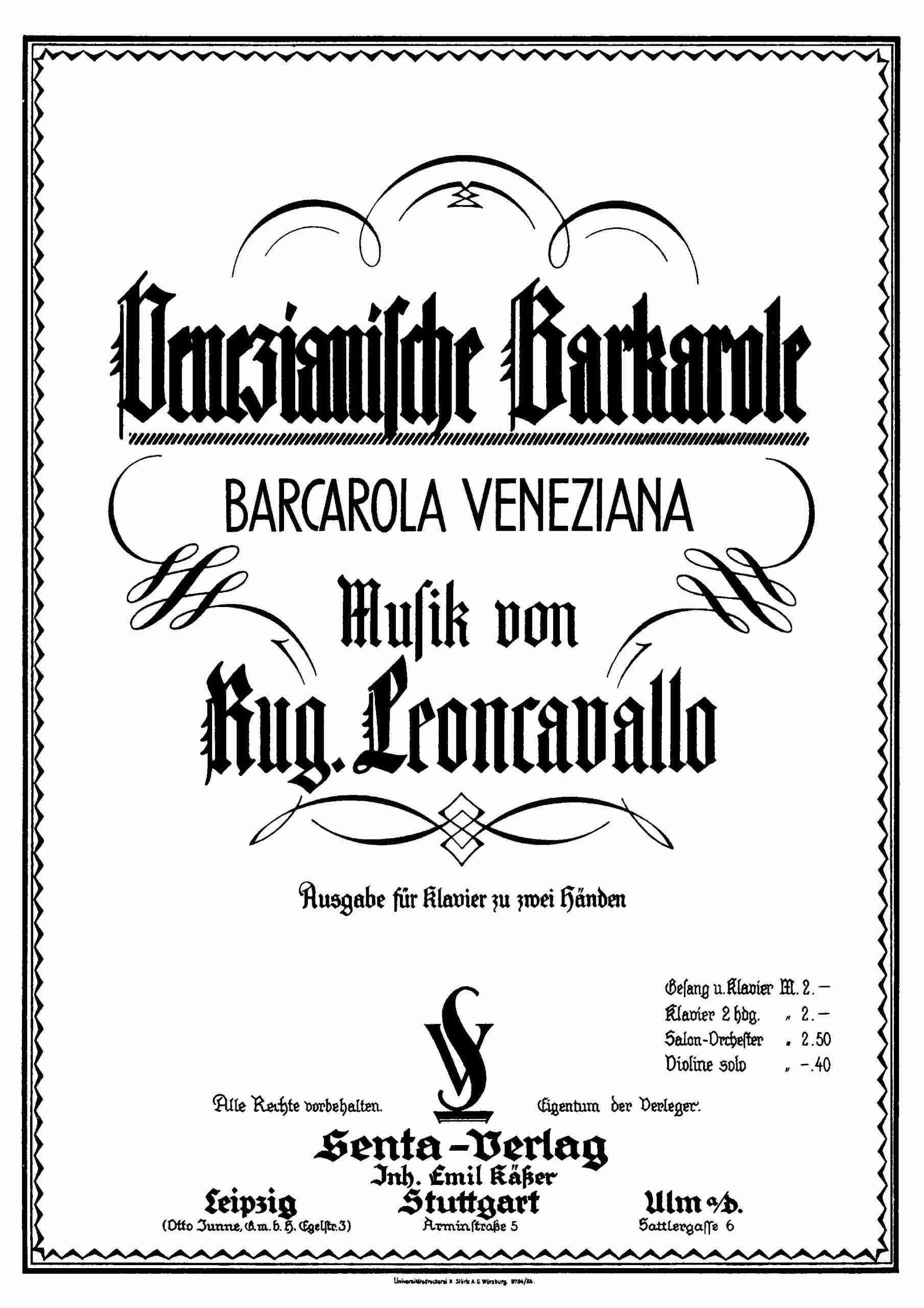 Leoncavallo, Ruggiero - Barcarola Veneziana