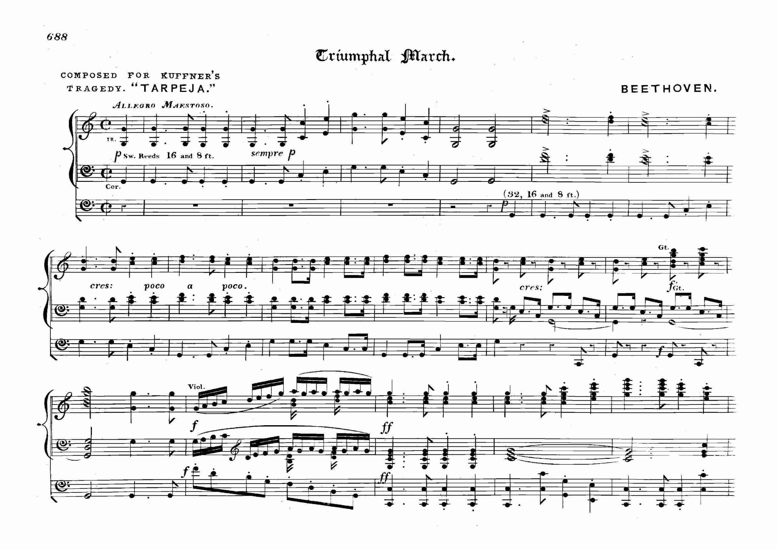 Beethoven, Ludwig van - Tarpeja, WoO 2 Arr. for Organ (Best)