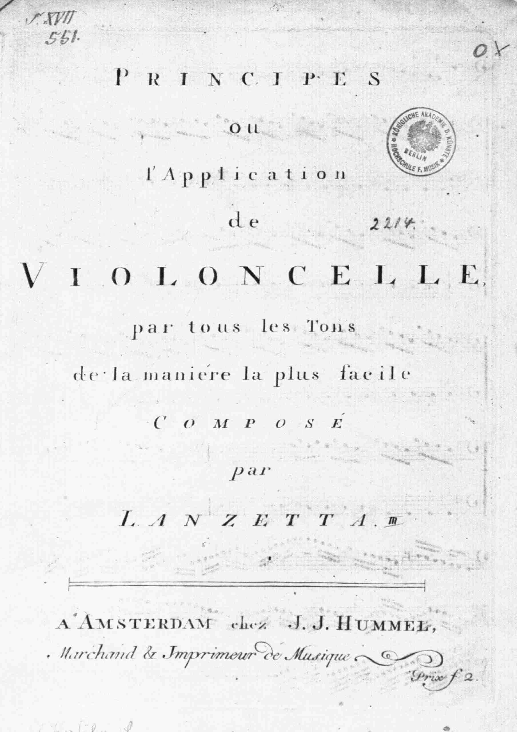 Lanzetti, Salvatore - Principes ou l'Application de Violoncelle