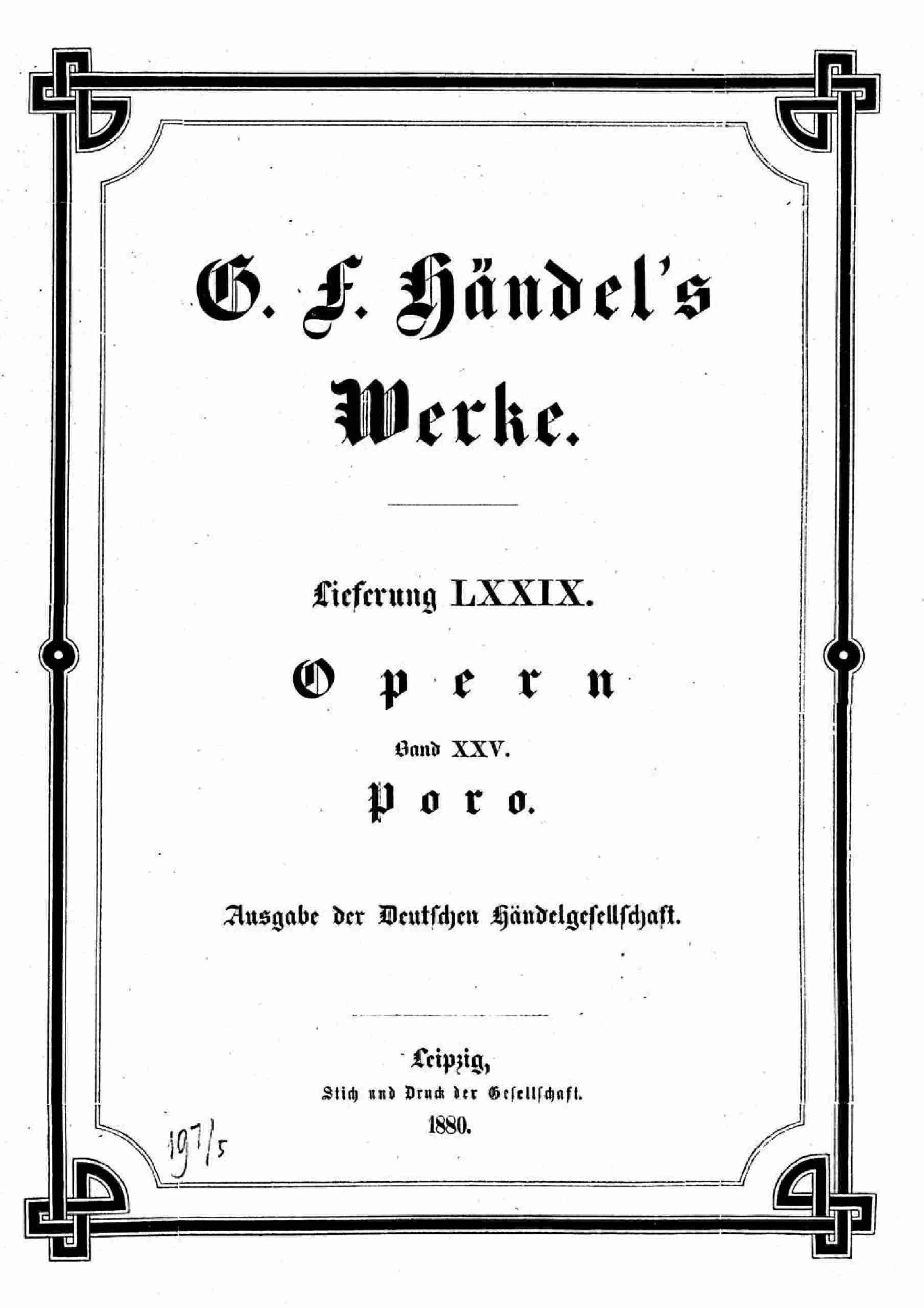 Handel, George Frideric - Poro, re dell'Indie, HWV 28 (score)