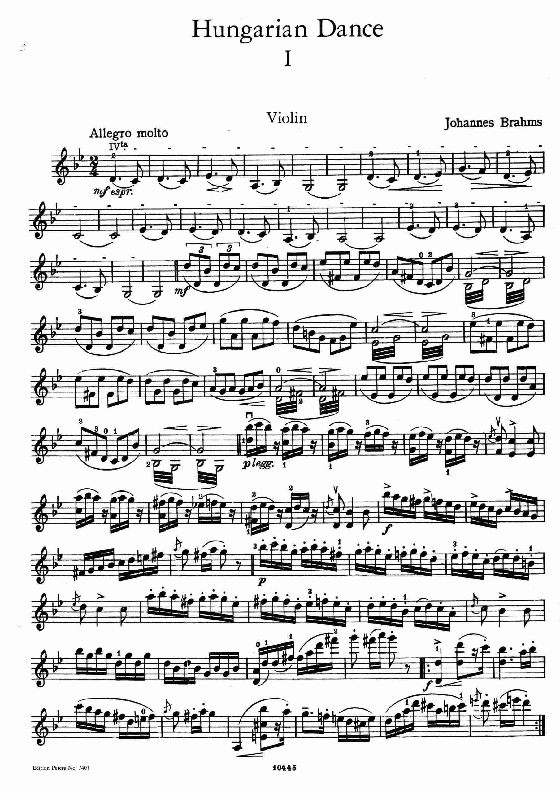 Brahms - 21 Hungarian Dances (Piano), WoO 1 (Nos.1,3,5 vln&pno)