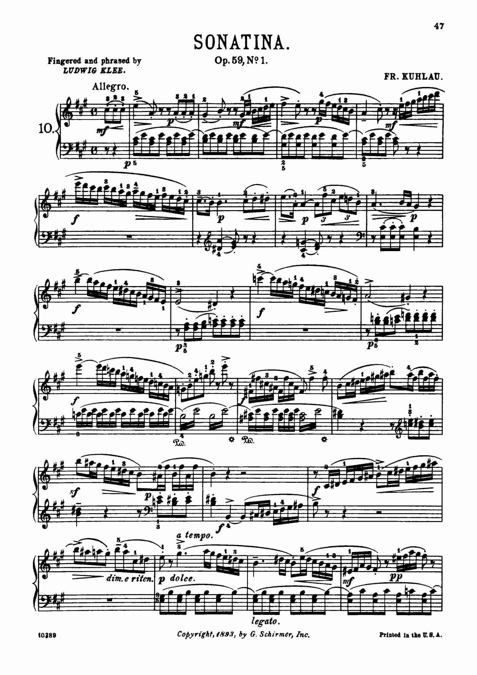 Kuhlau, Friedrich - Piano Sonata in A major, Op.59 No.1