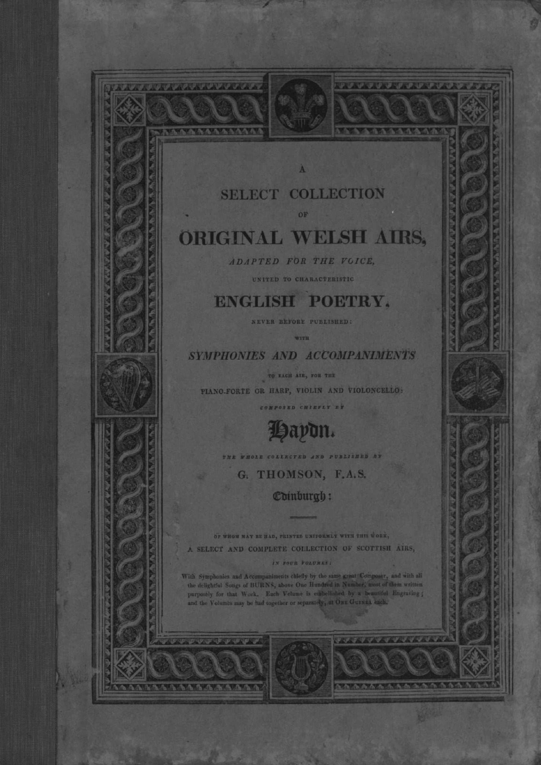 Thomson, George - A Select Collection of Original Welsh Airs (Vol.1)