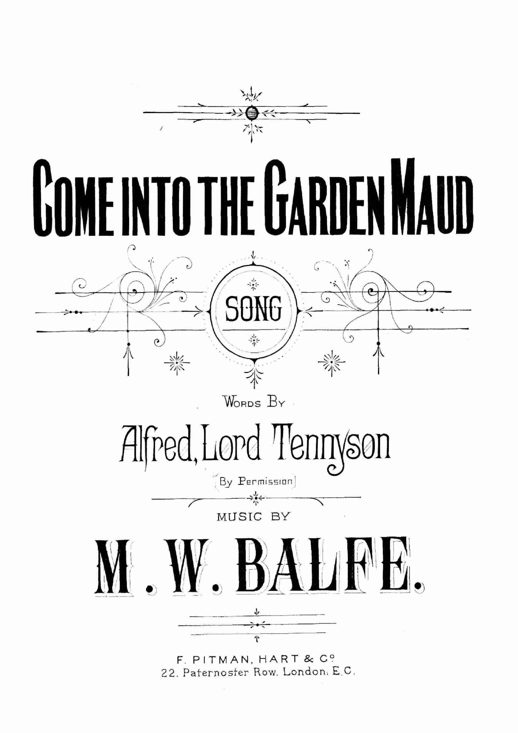 Balfe, Michael William - Come into the Garden, Maud