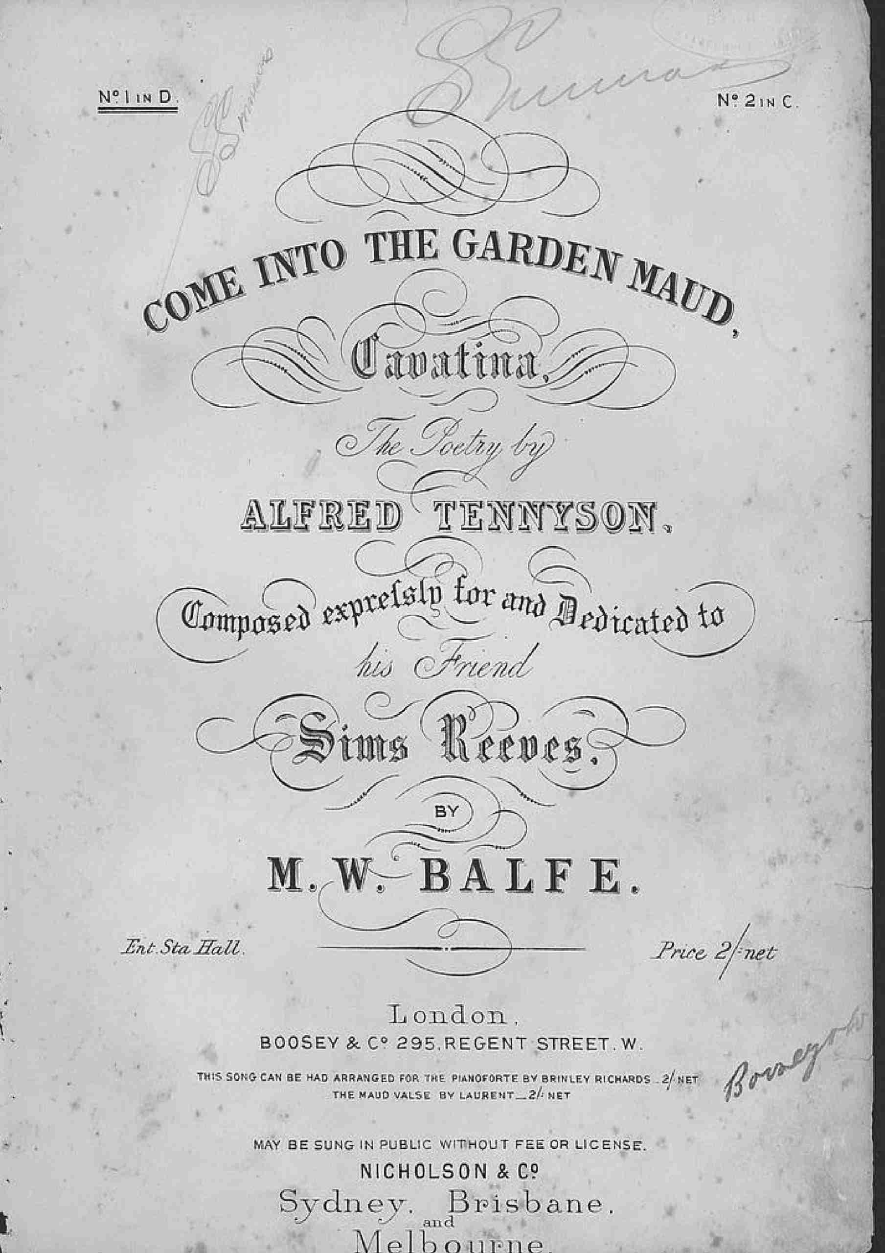 Balfe, Michael William - Come into the Garden, Maud (hv)