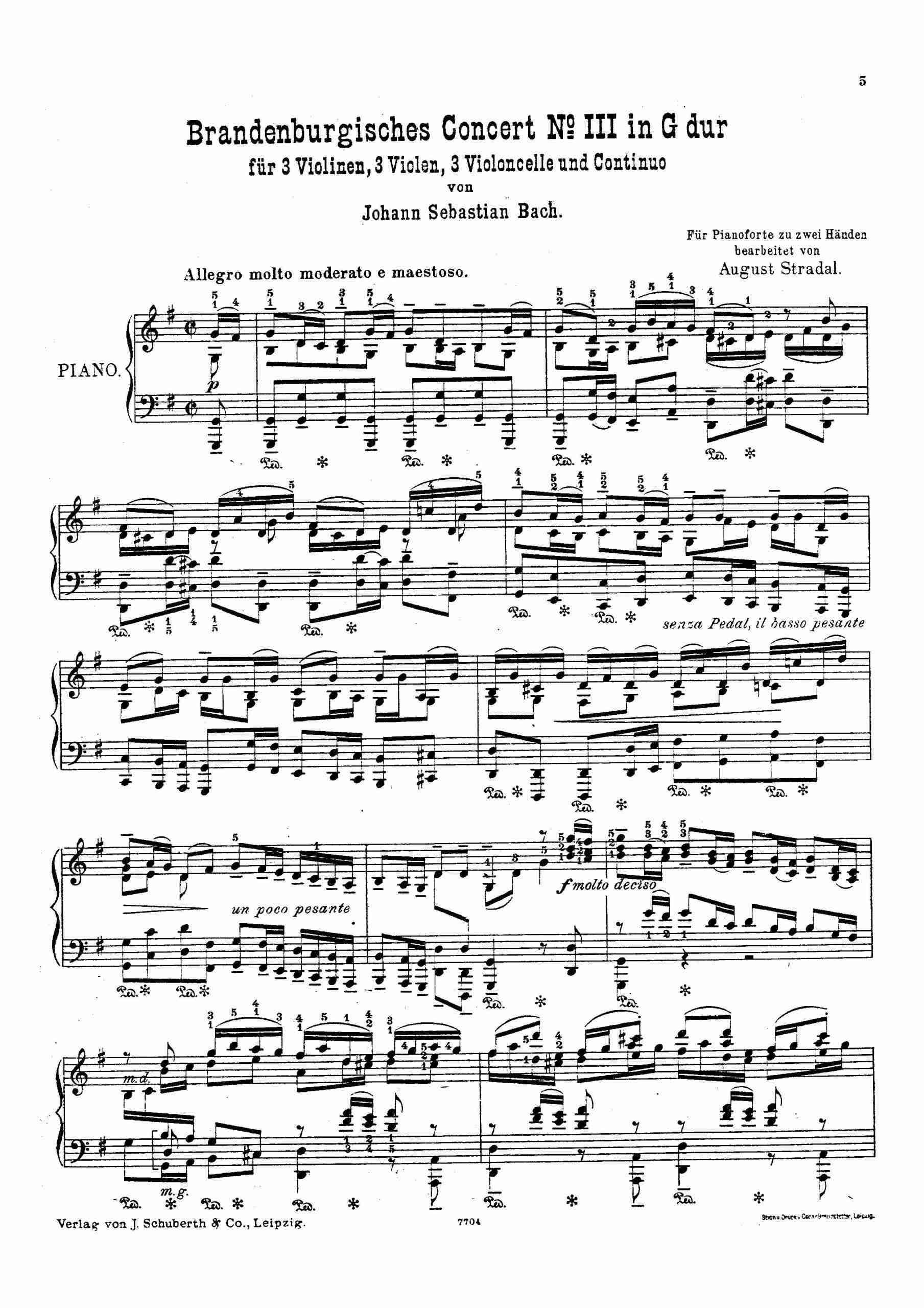 Bach - Brandenburg Concerto No.3 (arr. Stradal)