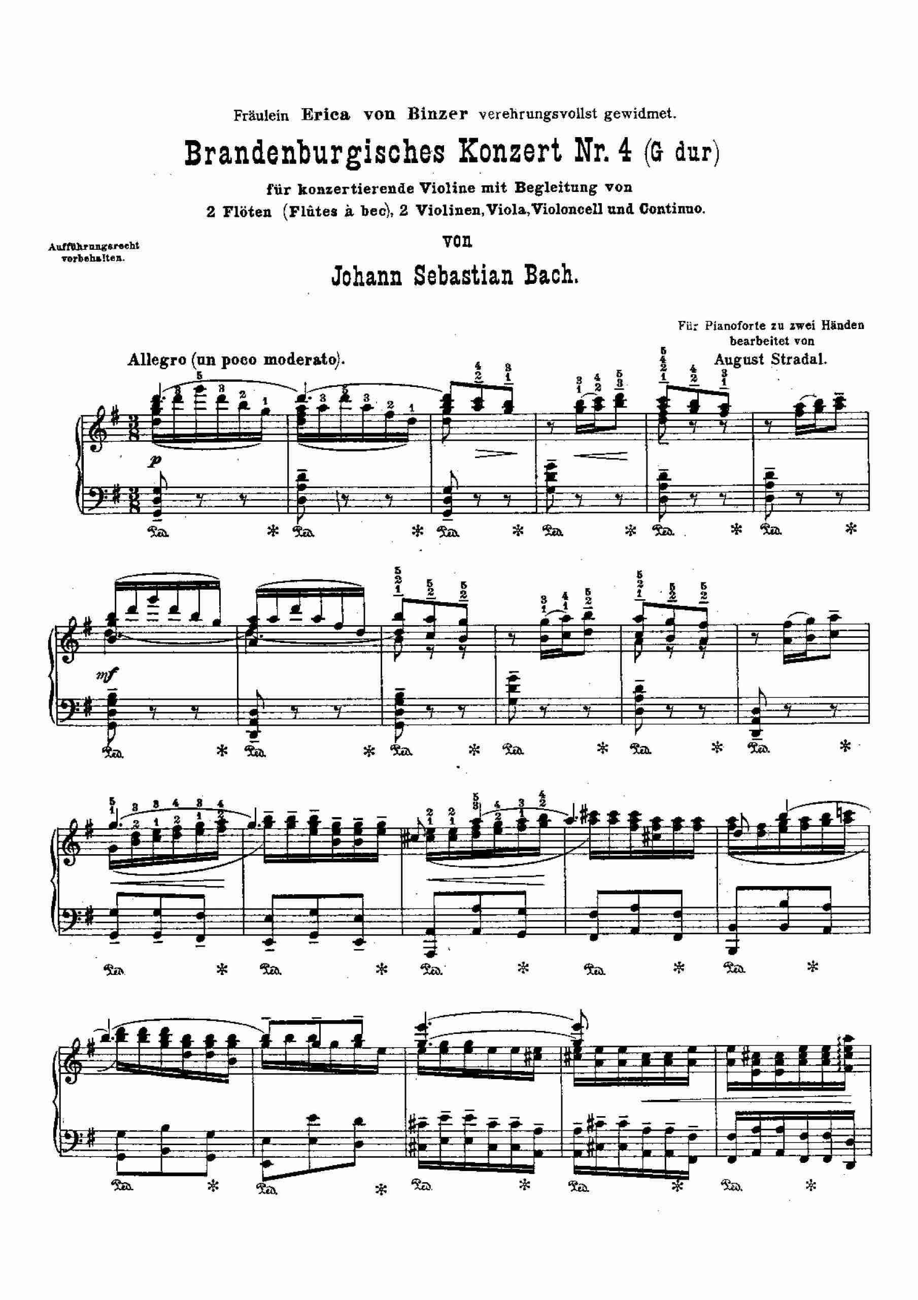 Bach - Brandenburg Concerto No.4 (arr. Stradal)