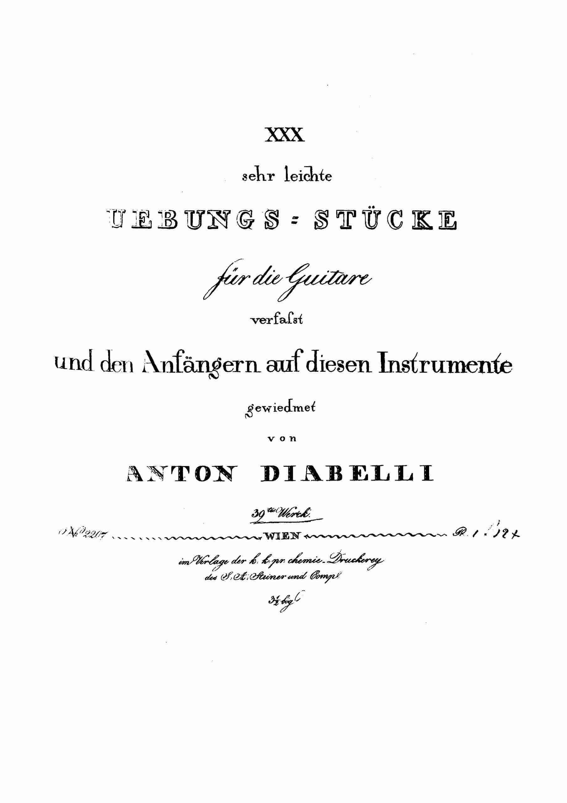 Diabelli, Anton - 30 sehr leichte Übungsstücke für Gitarre, Op.39