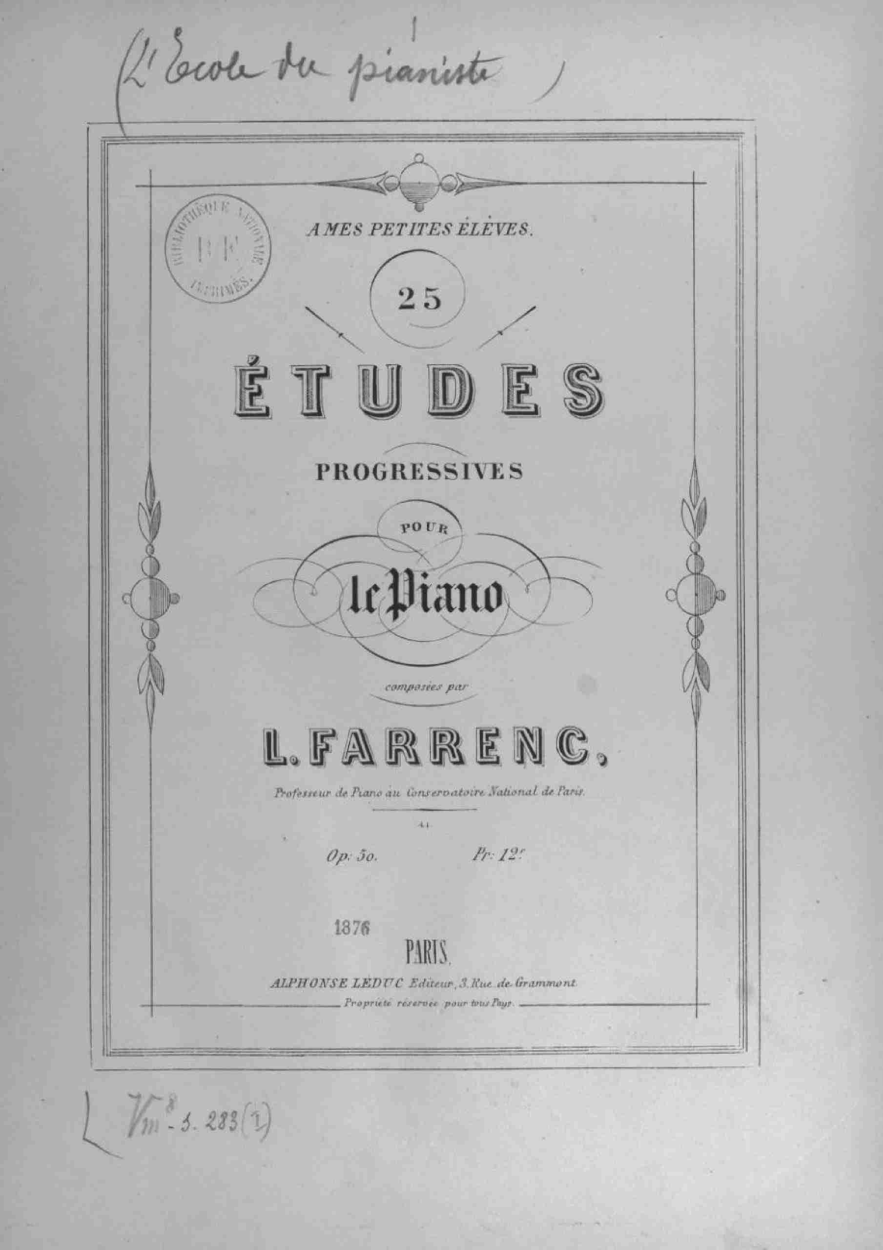 Farrenc, Louise - 25 Etudes faciles, Op.50