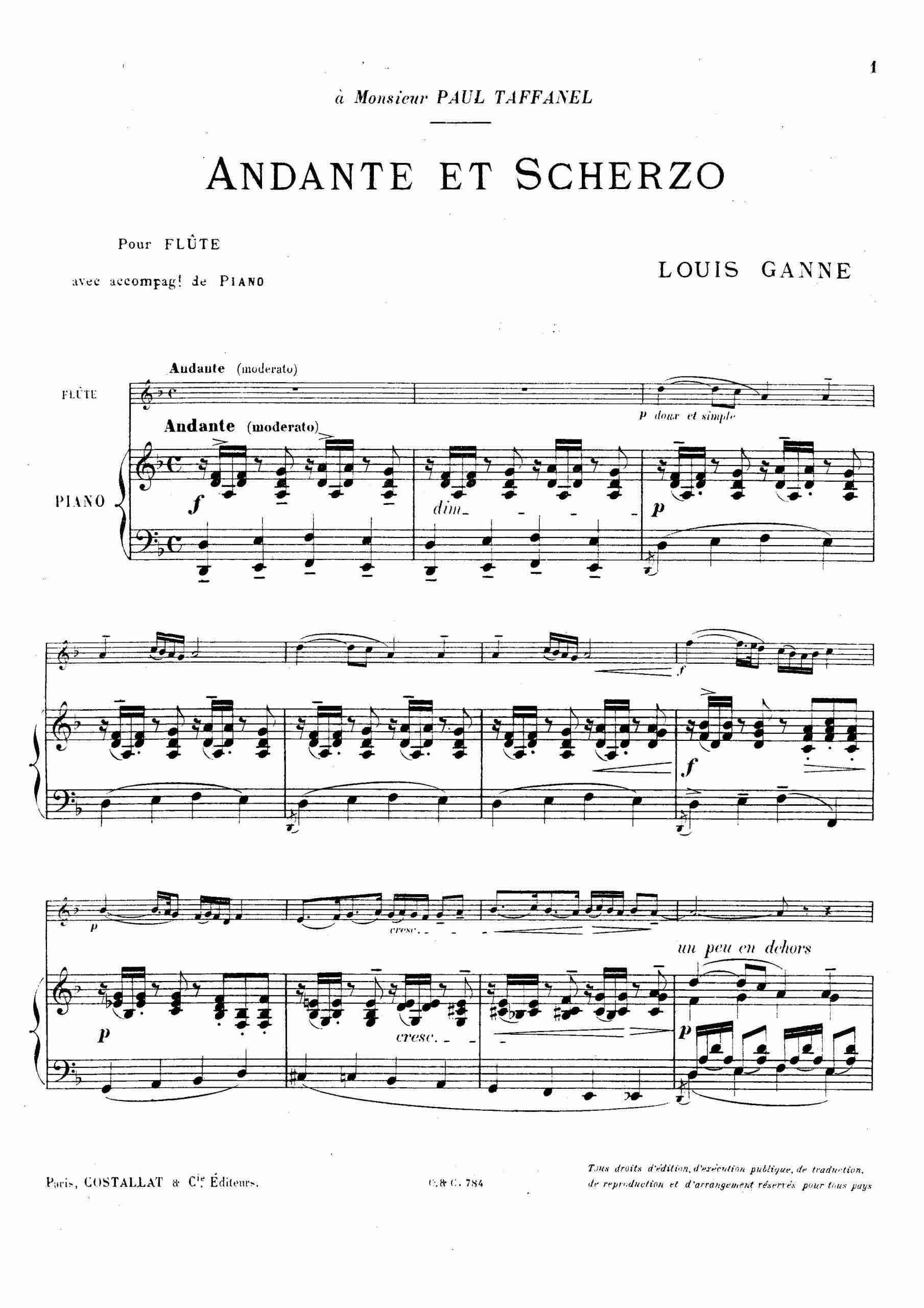 Ganne, Louis - Andante et Scherzo (pno)