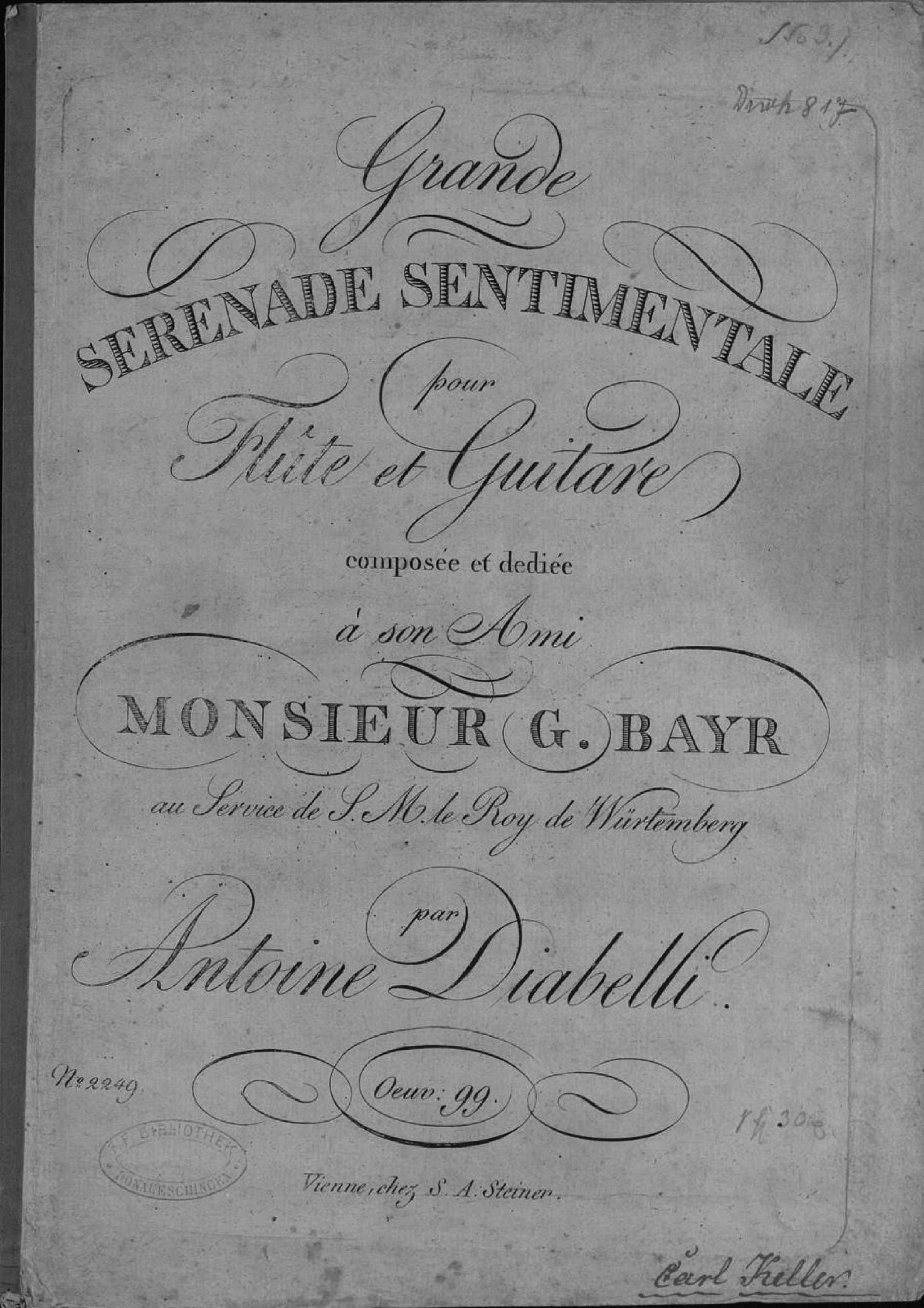 Diabelli, Anton - Grande Serenade sentimentale pour Flute et Guitare, Op.99