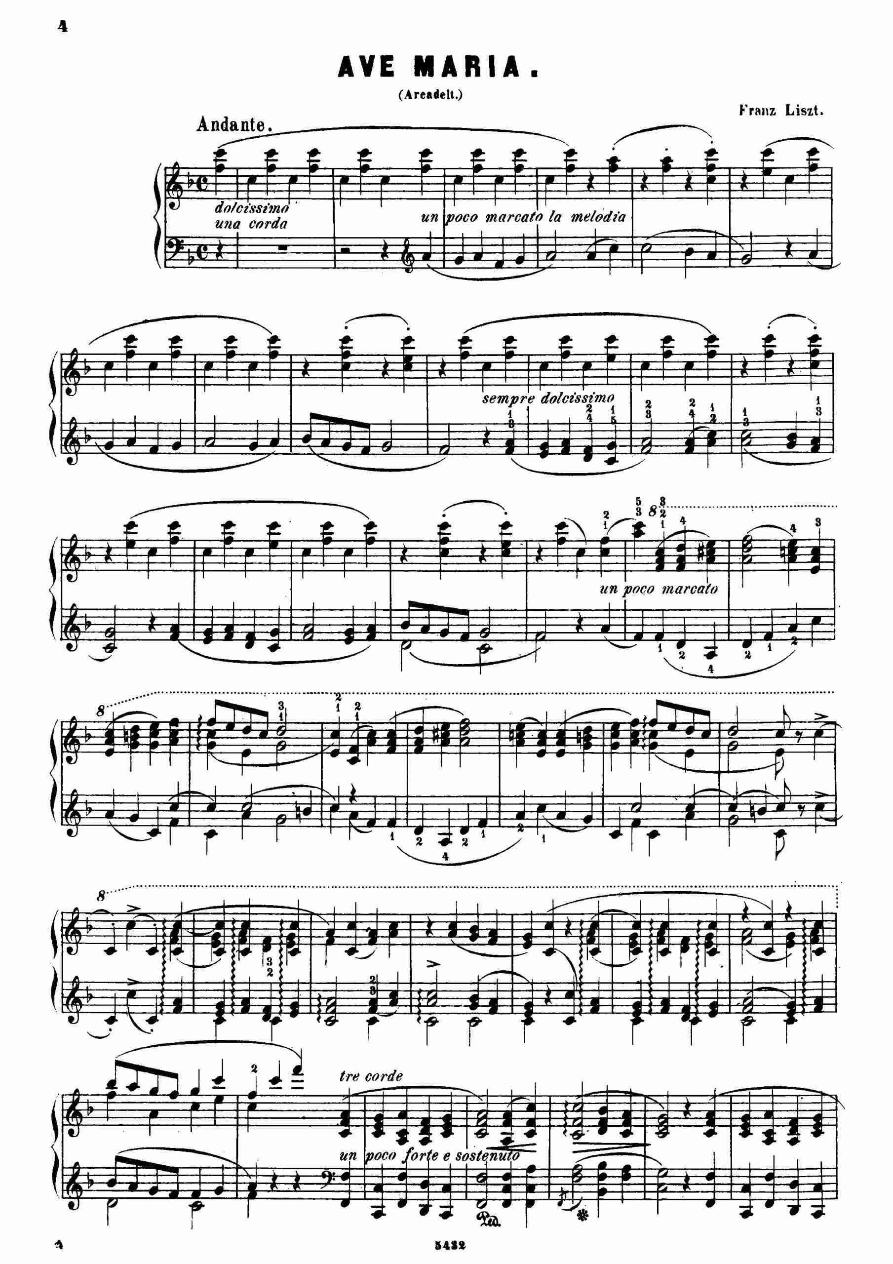 Liszt, Franz - Ave Maria d'Arcadelt, S.183/2