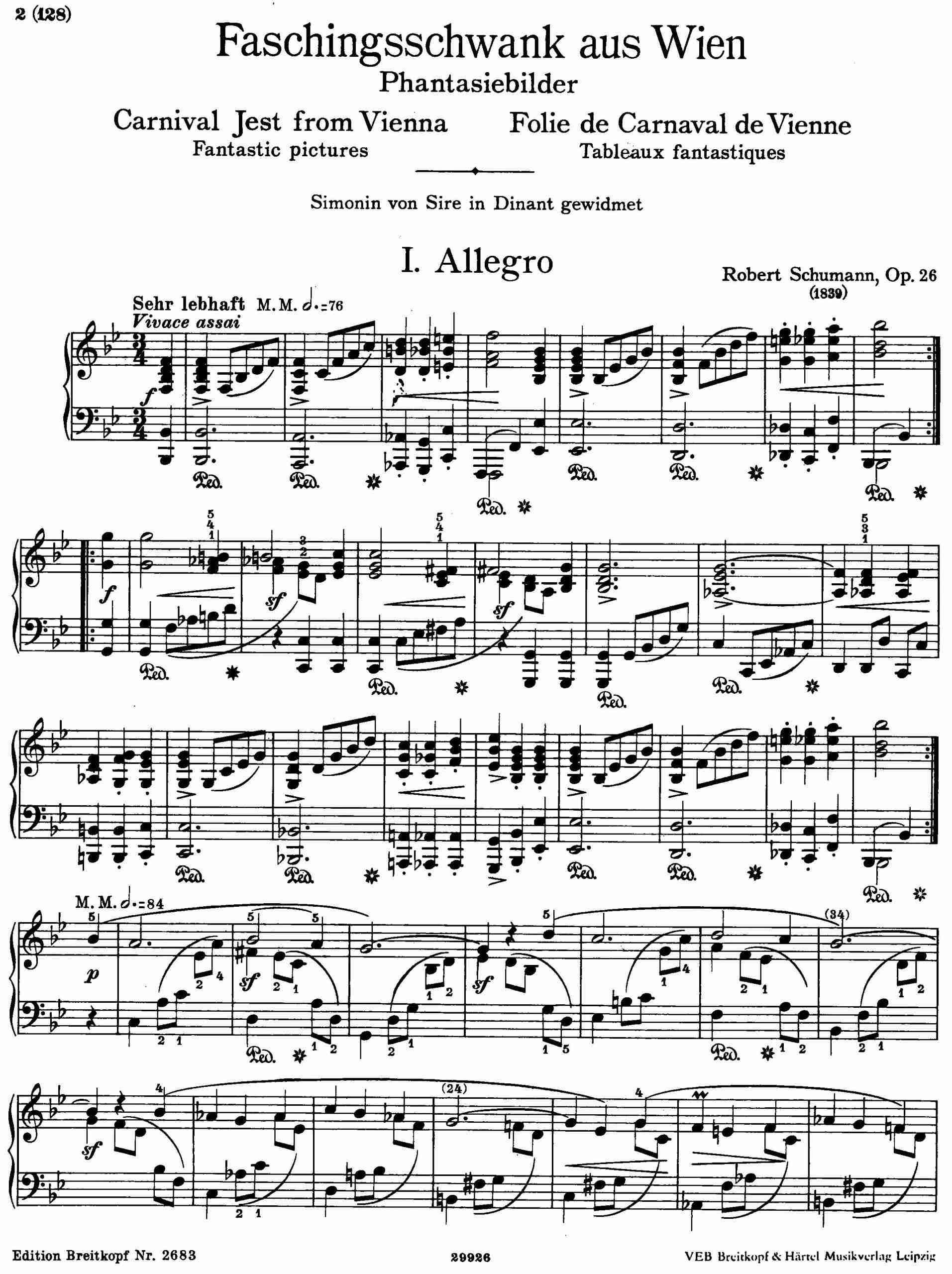 Schumann, Robert - Faschingsschwank aus Wien, Op.26