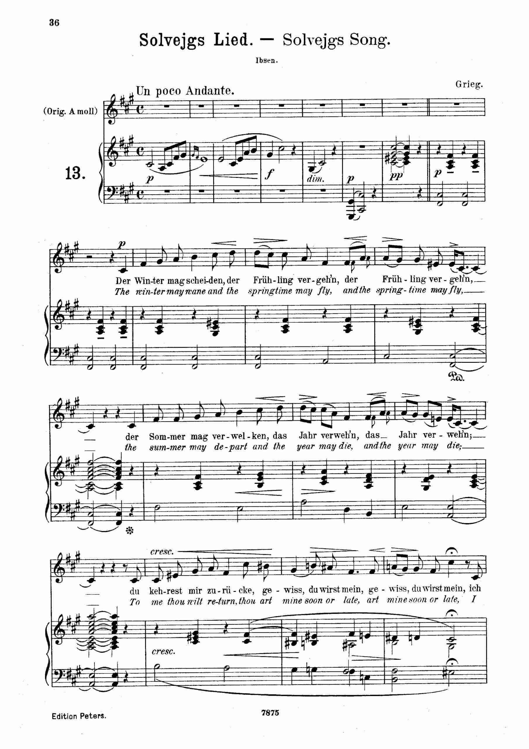 Grieg, Edvard - Peer Gynt, Op.23 (Solveig's song)