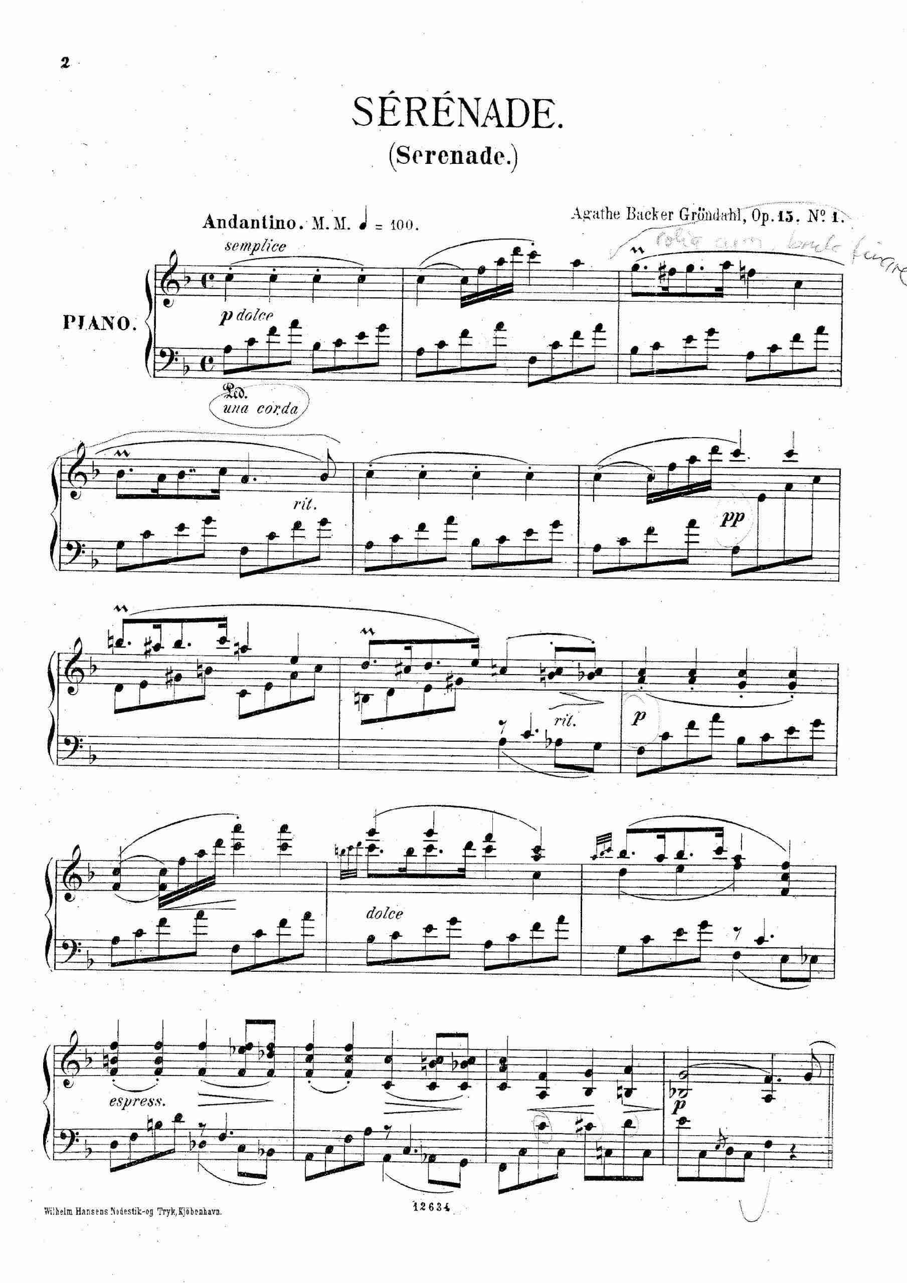 Backer-Grøndahl, Agathe - 3 Piano Pieces, Op.15