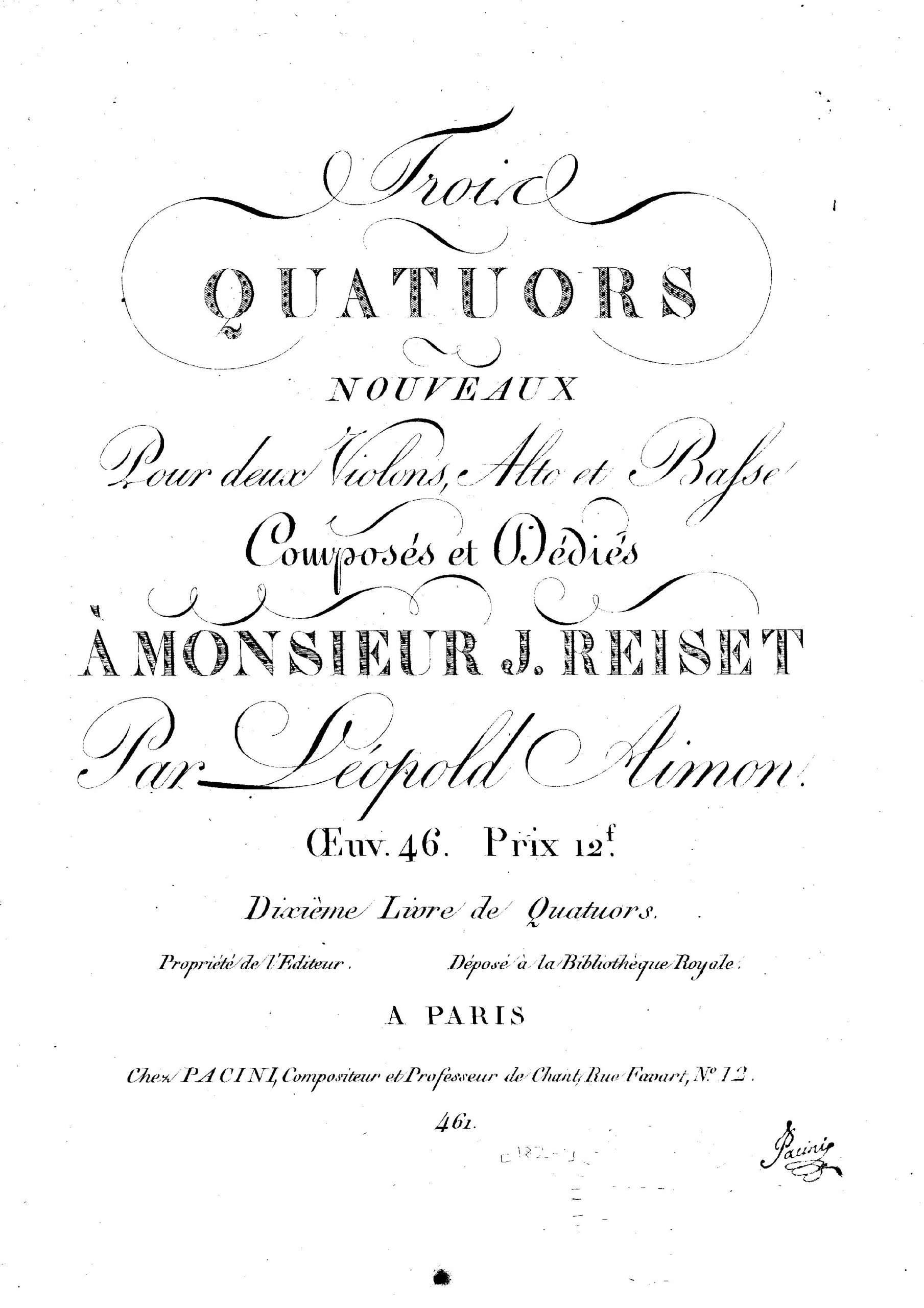 Aimon, Léopold - 3 String Quartets, Op.46 (vln1)