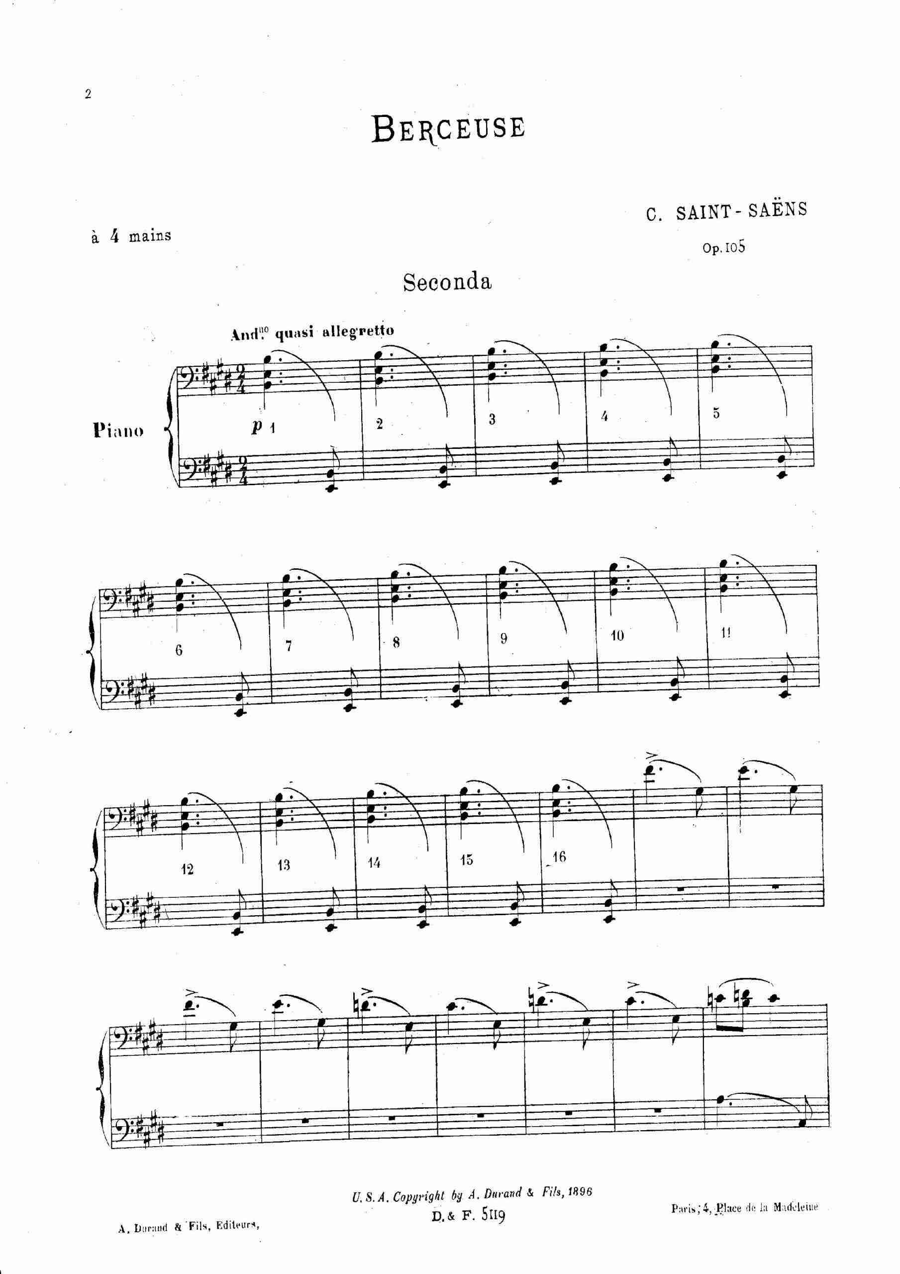 Saint-Saëns, Camille - Berceuse, Op.105